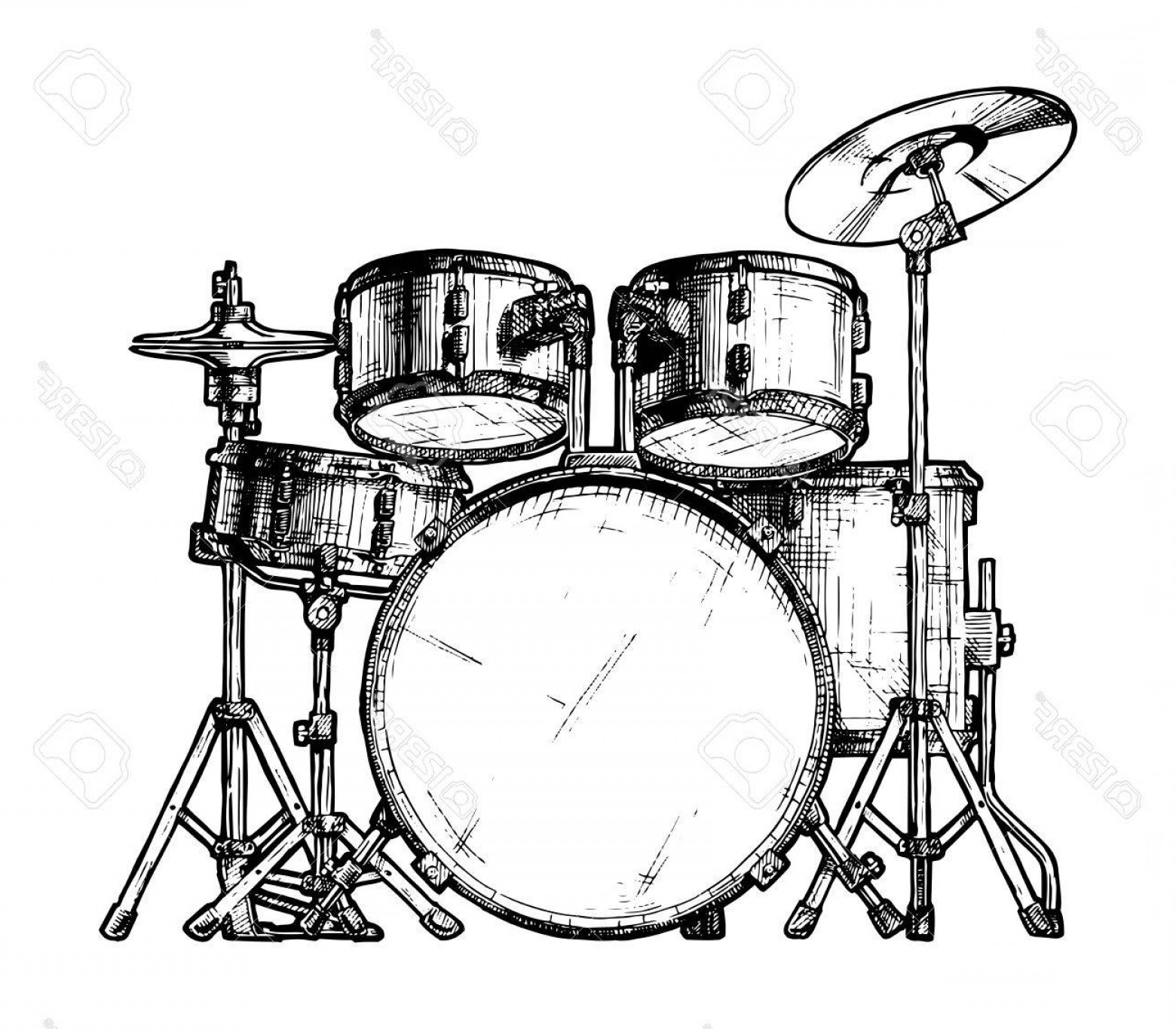 Drum Vector Art: Photostock Vector Hand Drawn Illustration Of Drum Kit Isolated On White