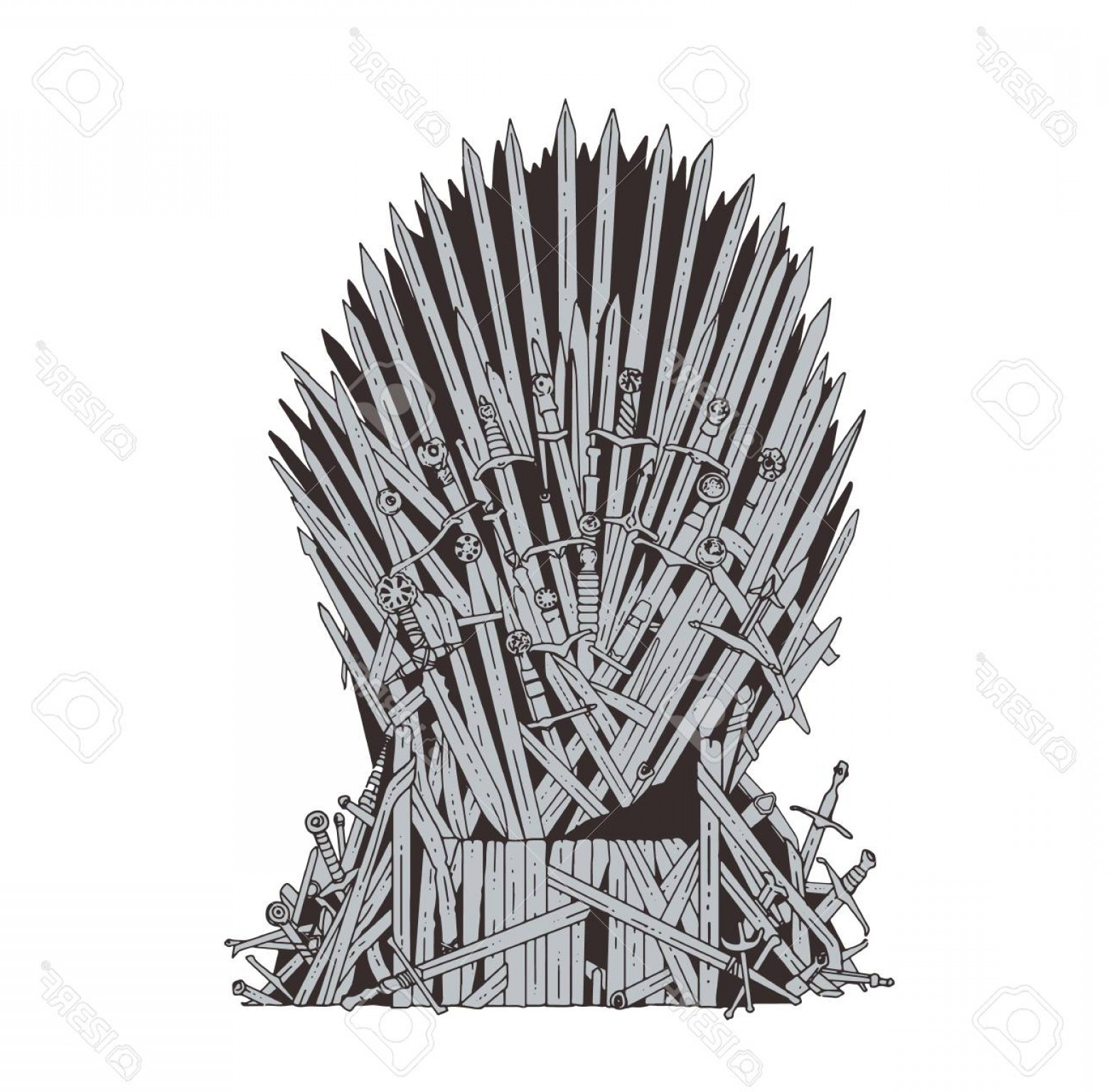 Game Of Thrones Sword Silhouette Vector: Photostock Vector Hand Drawn Iron Throne Of Westeros Made Of Antique Swords Or Metal Blades Ceremonial Chair Built Of