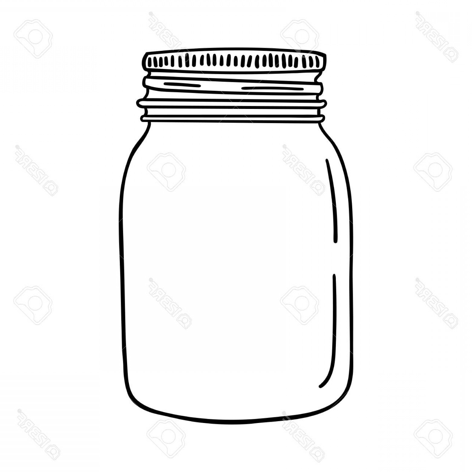 Mason Jar Outline Vector: Photostock Vector Hand Drawn Mason Jar Contour Sketch Vector Illustration