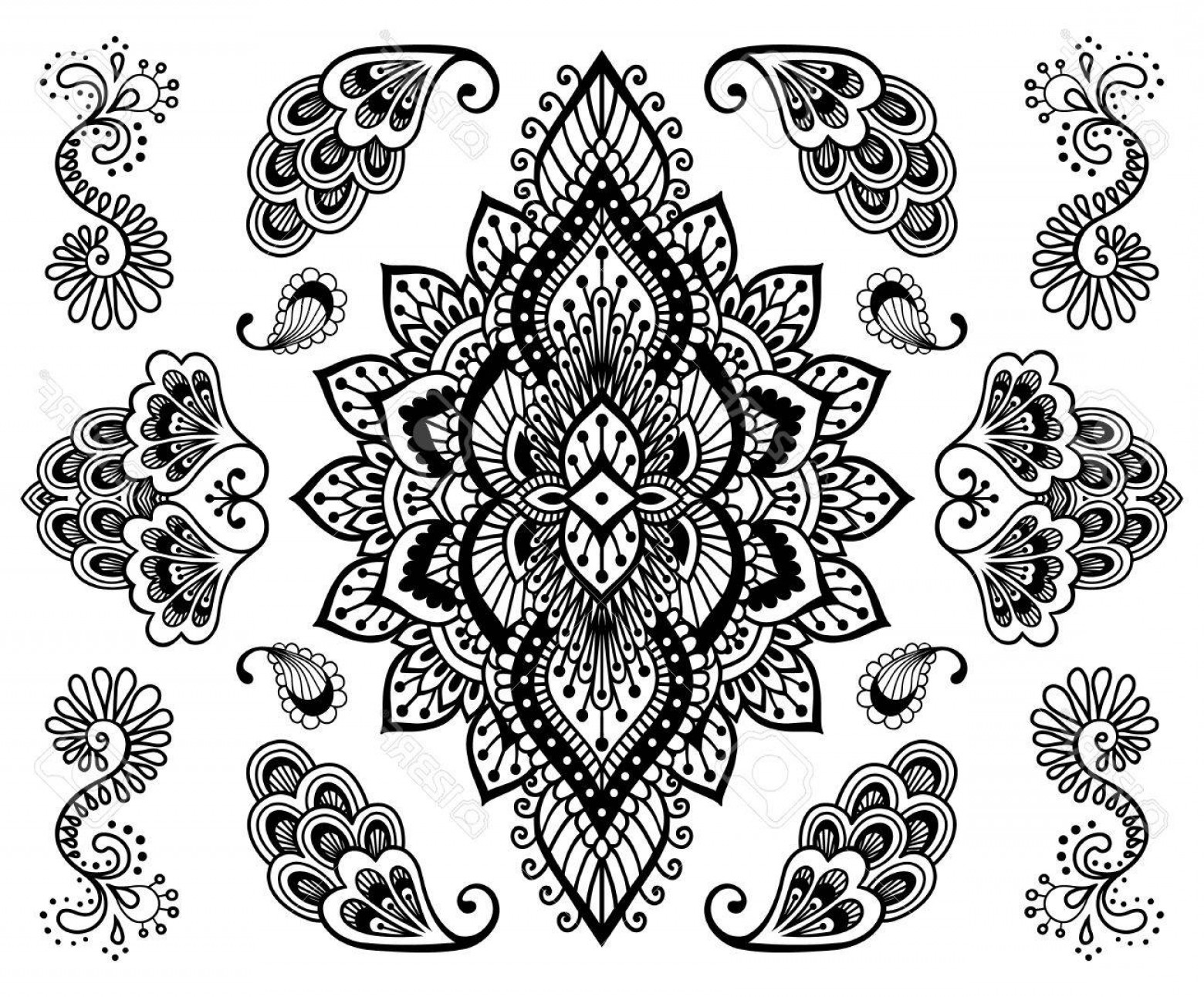 Vector Ornament Sets: Photostock Vector Hand Drawn Mehendi Ornament Collection Indian Henna Tattoo Set Oriental Style Decorative Design Temp