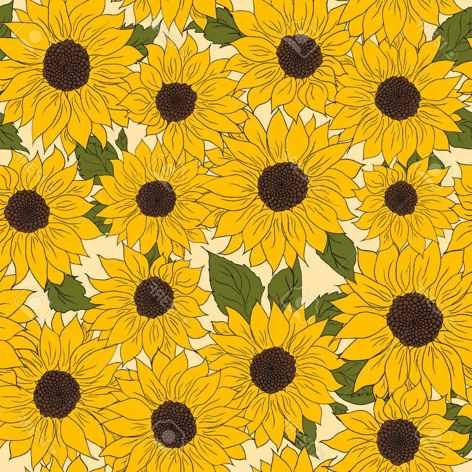 Sunflower Vector Pattern: Photostock Vector Hand Drawn Pattern Of Sunflowers Background Flower Sunflower Yellow And Brown Packaging Oil Products