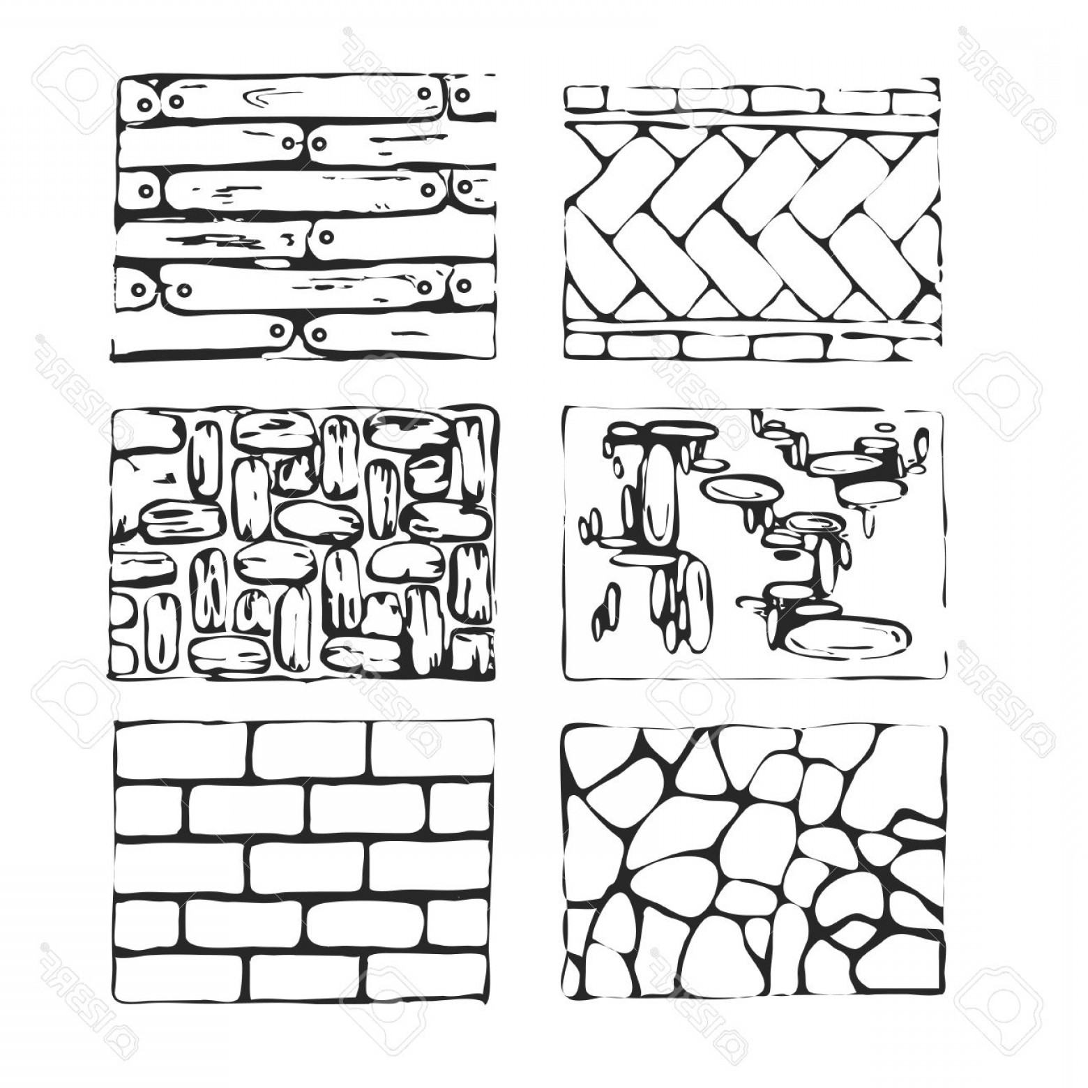 Vector Stone Landscaping: Photostock Vector Hand Drawn Paving Stones And Blocks Detailed Landscape Design Elements Top View Eight Type Of Paving
