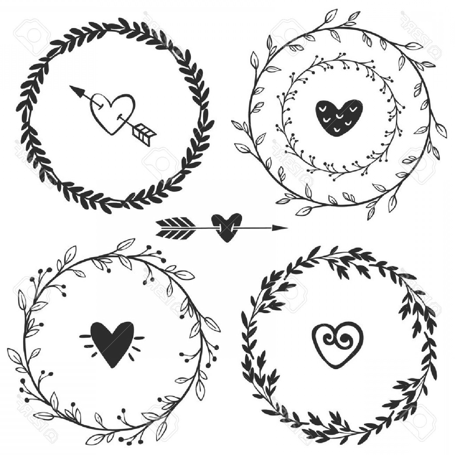 Rustic Heart Vectors: Photostock Vector Hand Drawn Rustic Vintage Wreaths With Hearts Floral Vector Graphic Nature Design Elements