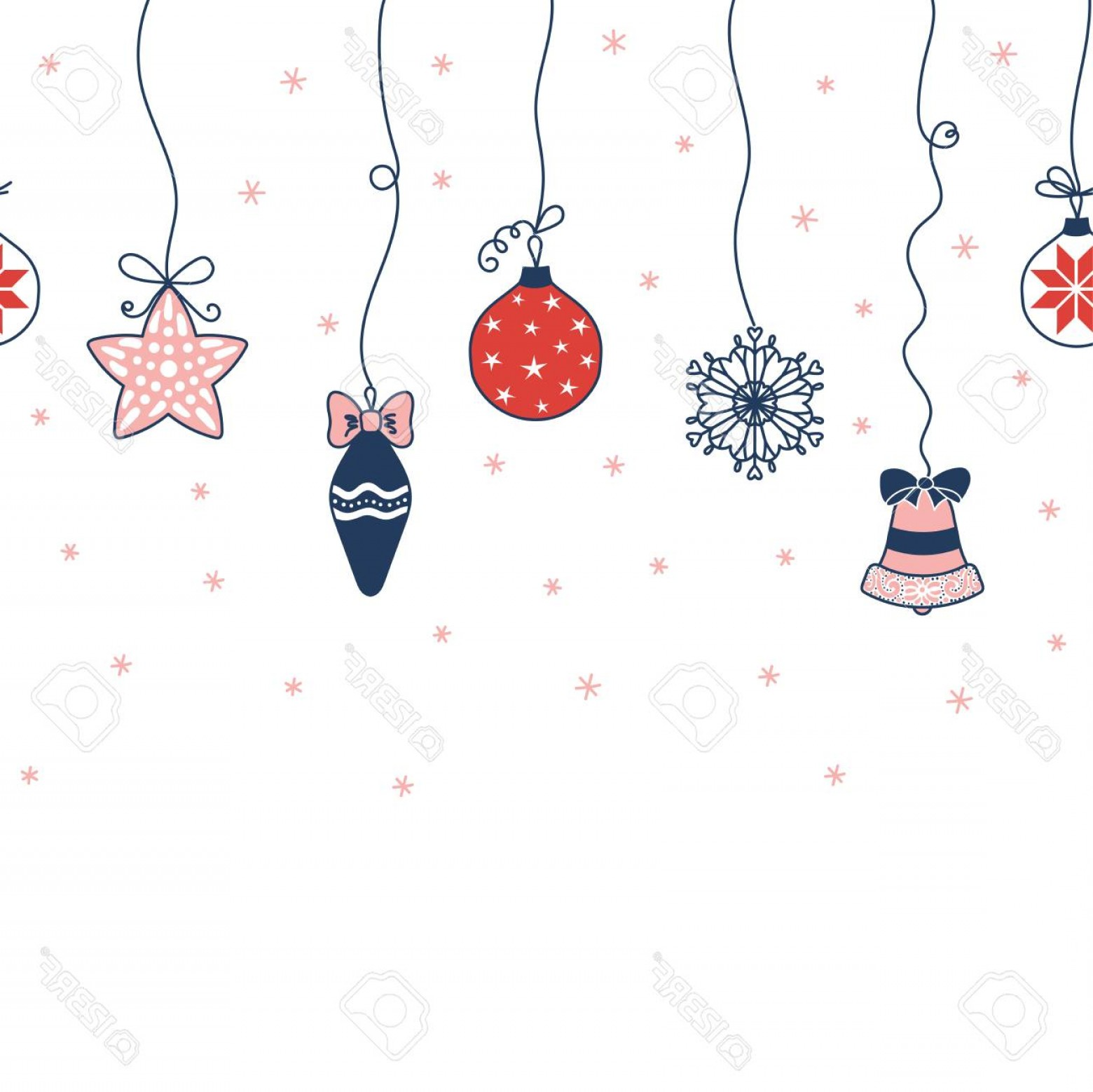 Christmas Horizontal Vector: Photostock Vector Hand Drawn Seamless Horizontal Vector Pattern With Christmas Ornaments Hanging From The Top Snowflak
