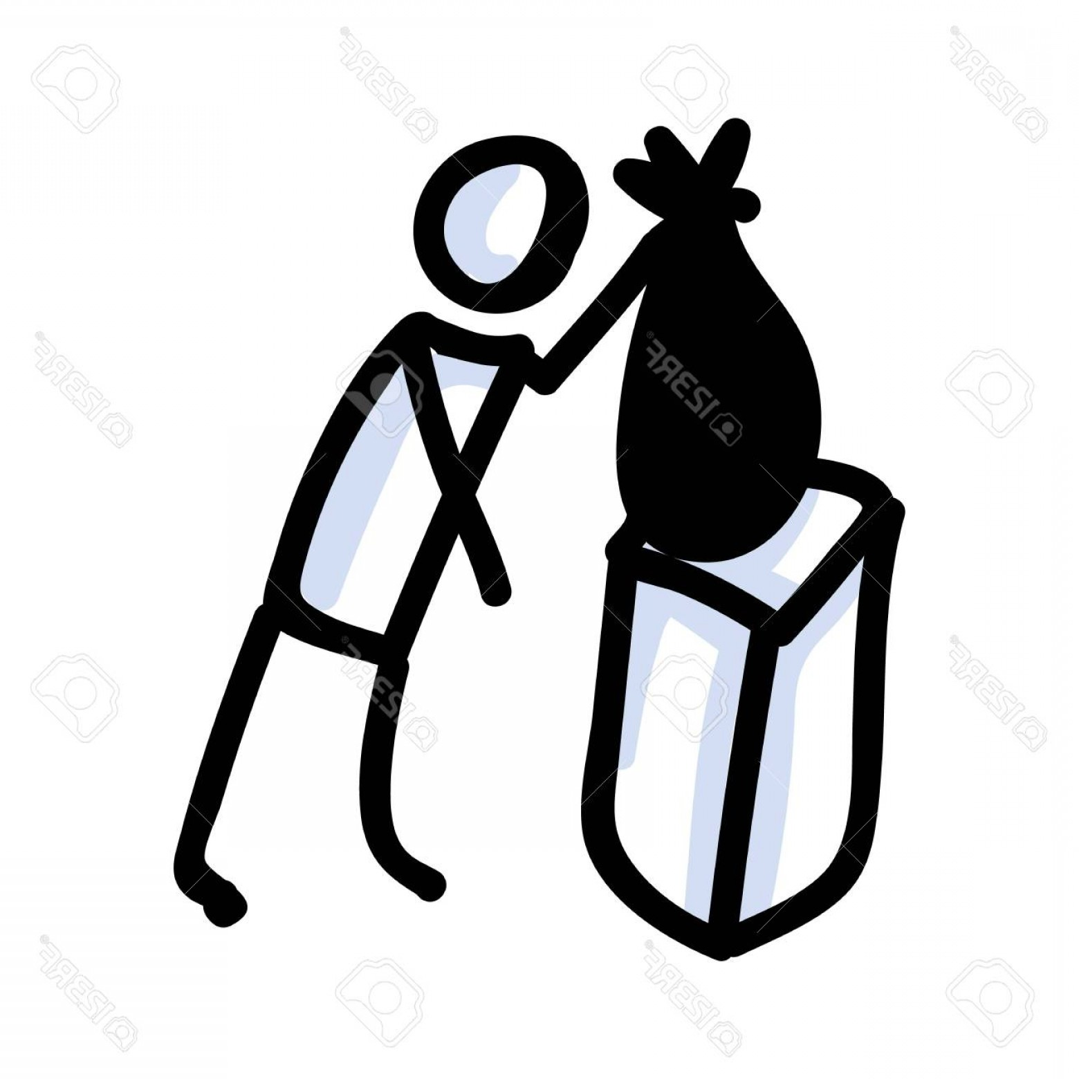 Volunteer Clip Art Vector: Photostock Vector Hand Drawn Stick Figure Trash Bag Concept Of Clean Up Earth Day Simple Icon Motif For Environmental