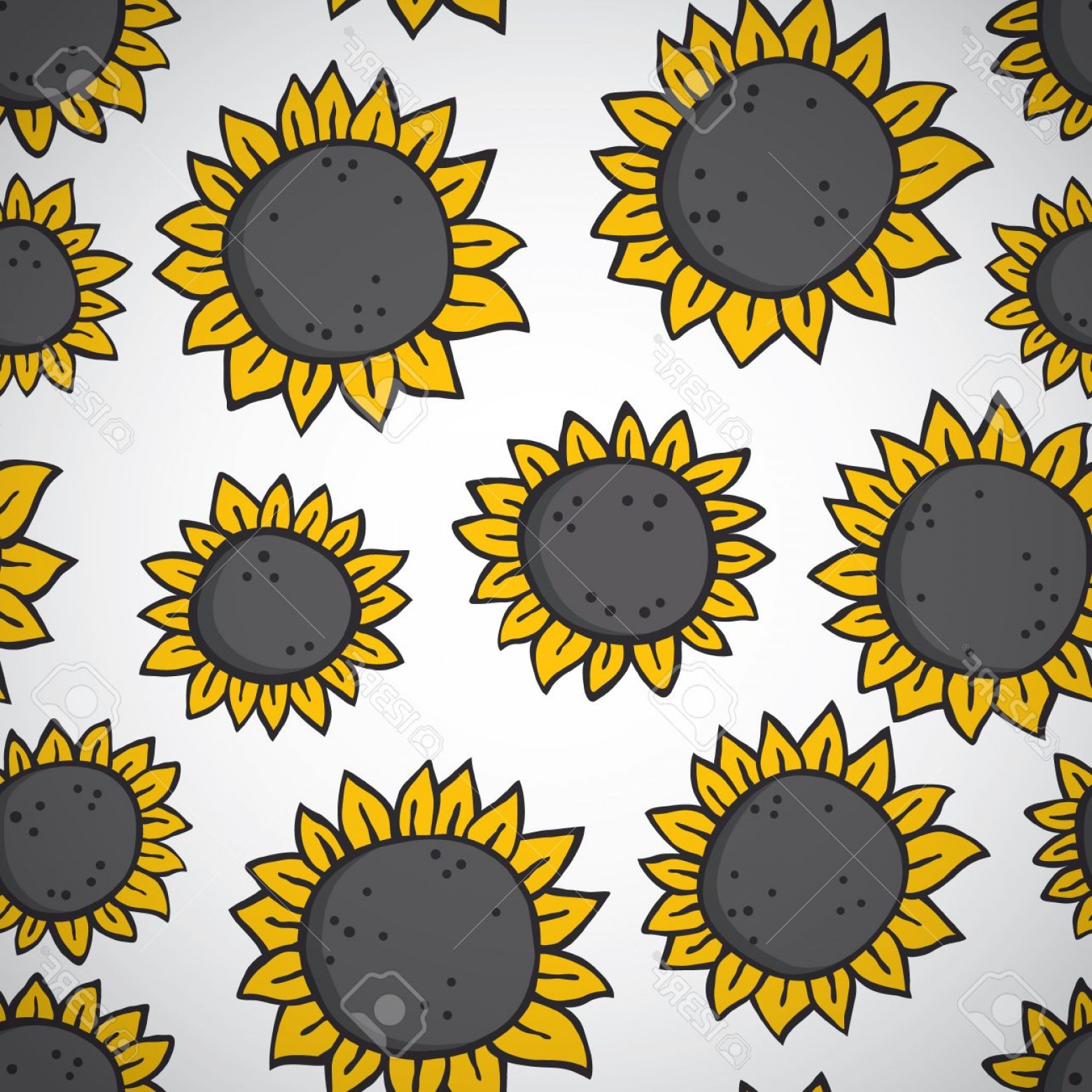 Sunflower Vector Pattern: Photostock Vector Hand Drawn Sunflower Pattern