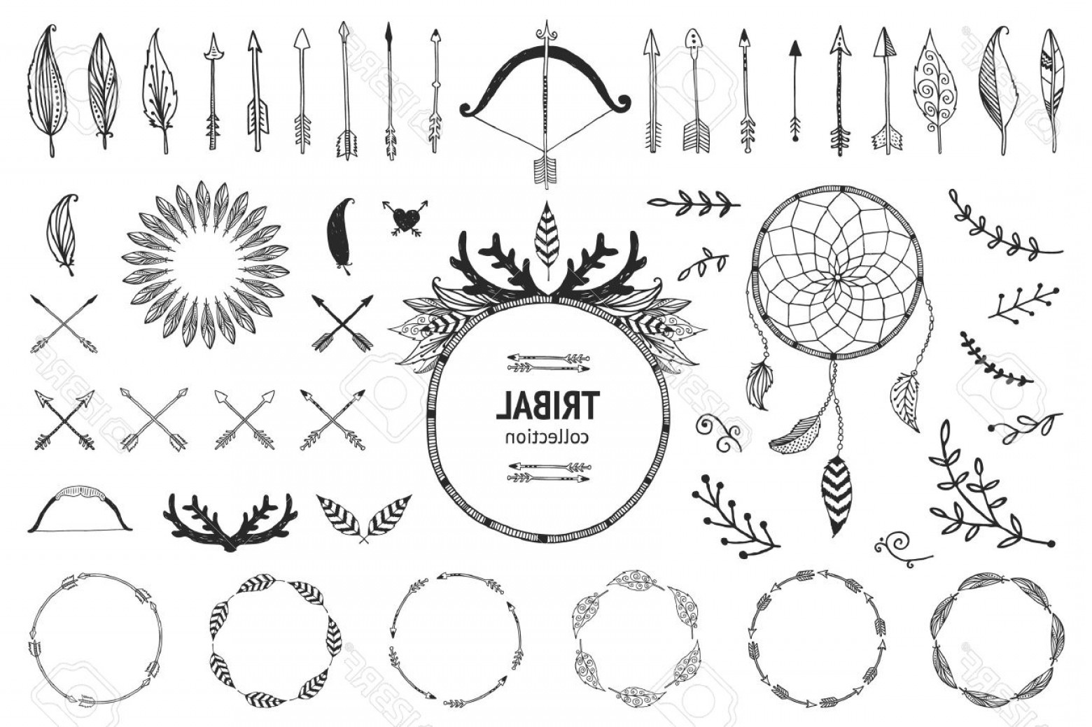 Arrow Border Frame Vector: Photostock Vector Hand Drawn Tribal Collection With Bow And Arrows Feathers Dreamcatcher Horns Frame And Border Floral