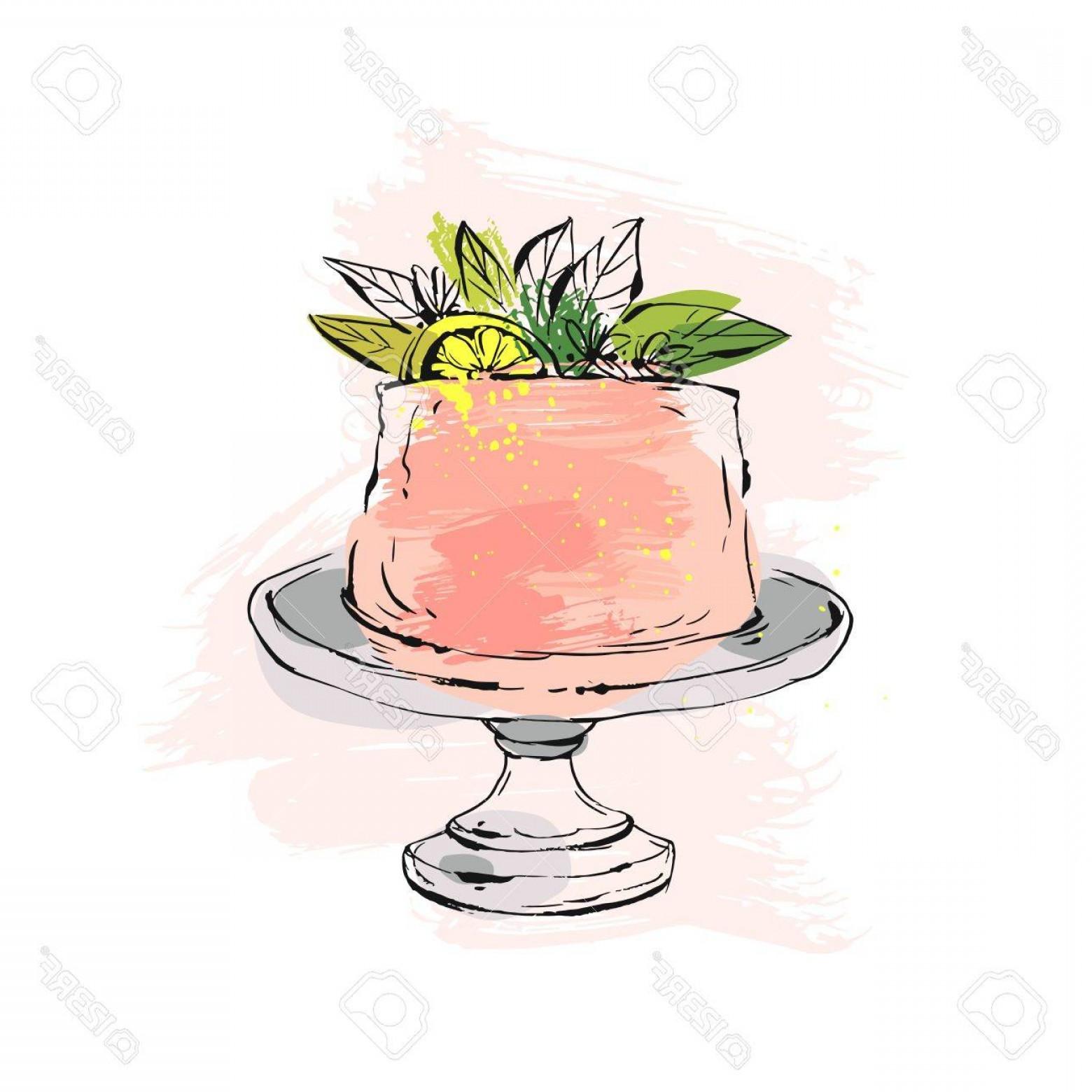 Cake Stand Vector: Photostock Vector Hand Drawn Vector Abstract Watercolor Textured Cake On Cake Stand With Lemon Flowers And Leaves In P