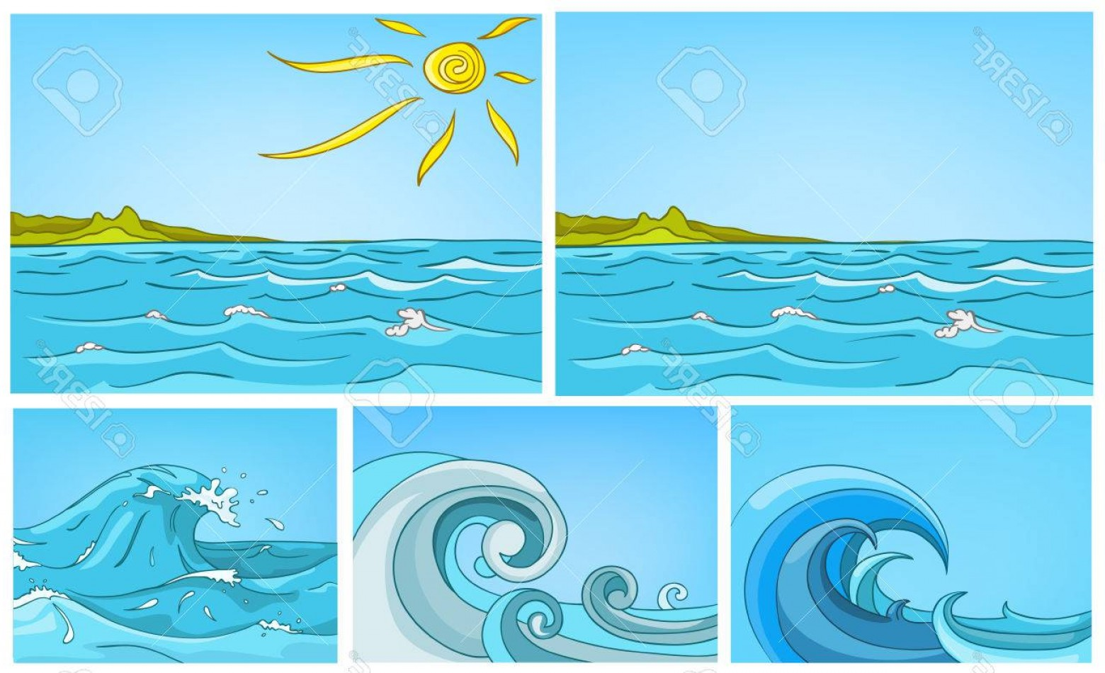 Cartoon Water Background Vector Clip Art: Photostock Vector Hand Drawn Vector Cartoon Set Of Sea Landscapes Colourful Cartoons Of Sea Or Ocean Backgrounds Vecto