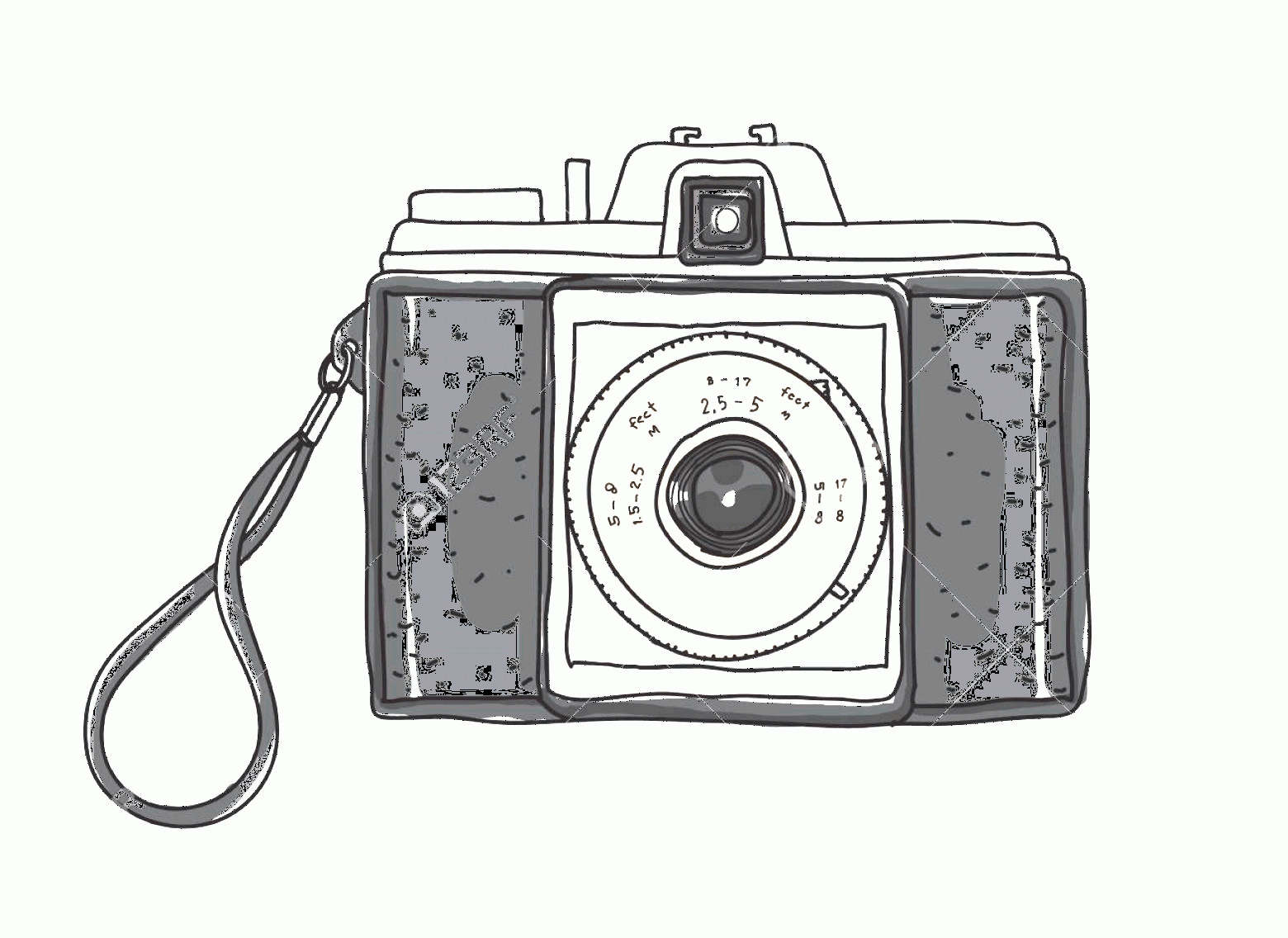 Classic Camera Vector: Photostock Vector Hand Drawn Vintage Camera Vector Art Illustration
