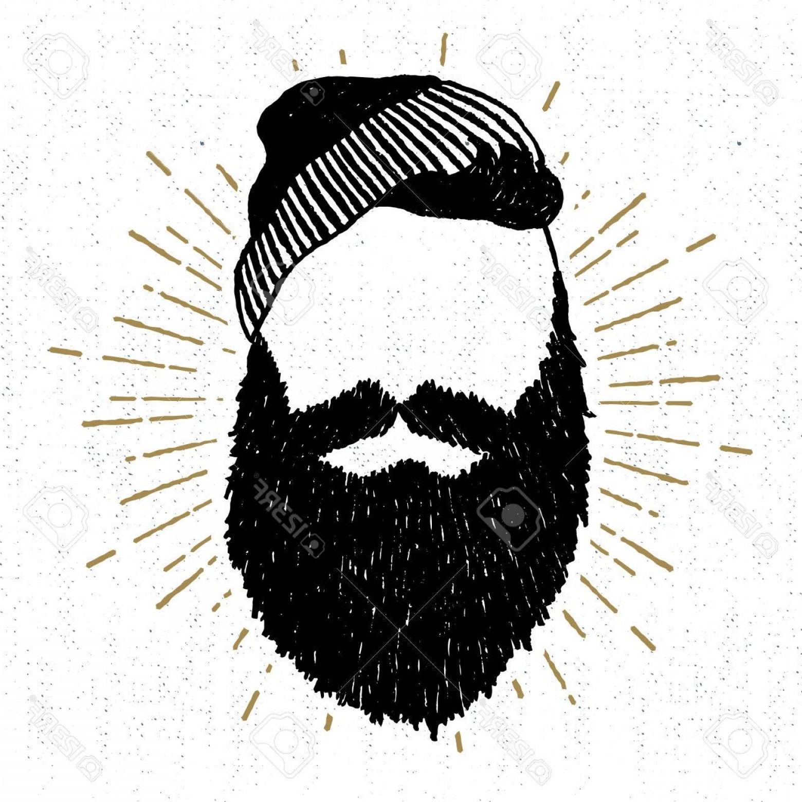 Fear The Beard Vector: Photostock Vector Hand Drawn Vintage Icon With A Textured Face With Beard Vector Illustration