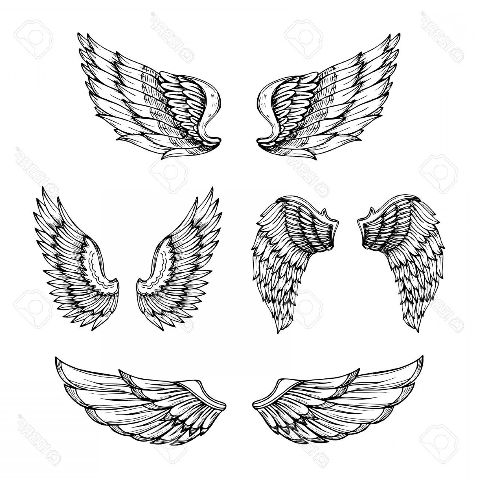 Angel Wings Tattoo Tribal Vector: Photostock Vector Hand Drawn Wing Sketch Angel Wings With Feathers Vector Tattoo Design Isolated Angel Wing Tattoo Bir