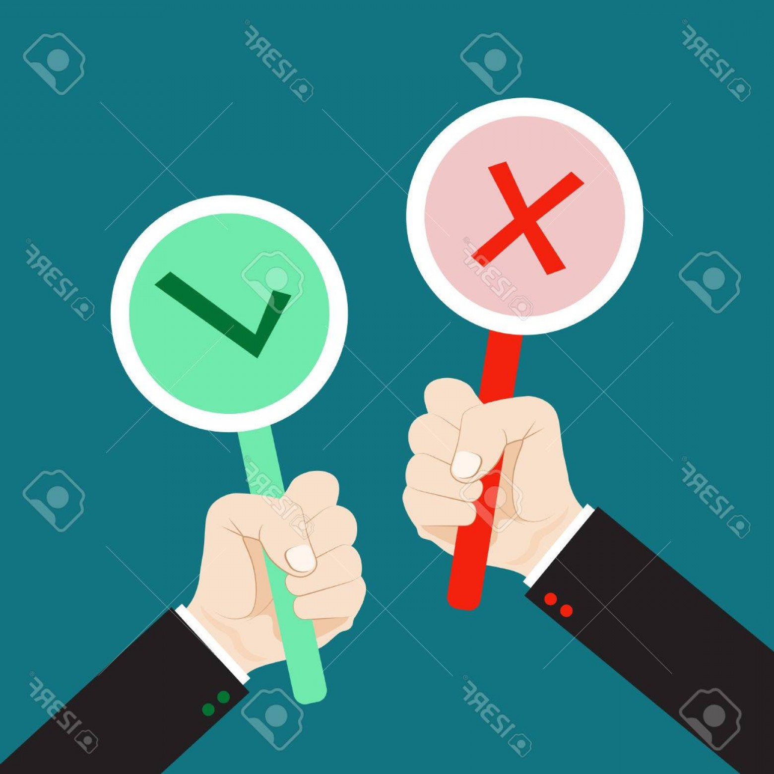 False Vector Style: Photostock Vector Hand Holding True And False Sign Flat Style Vector For Accept And Reject Concept