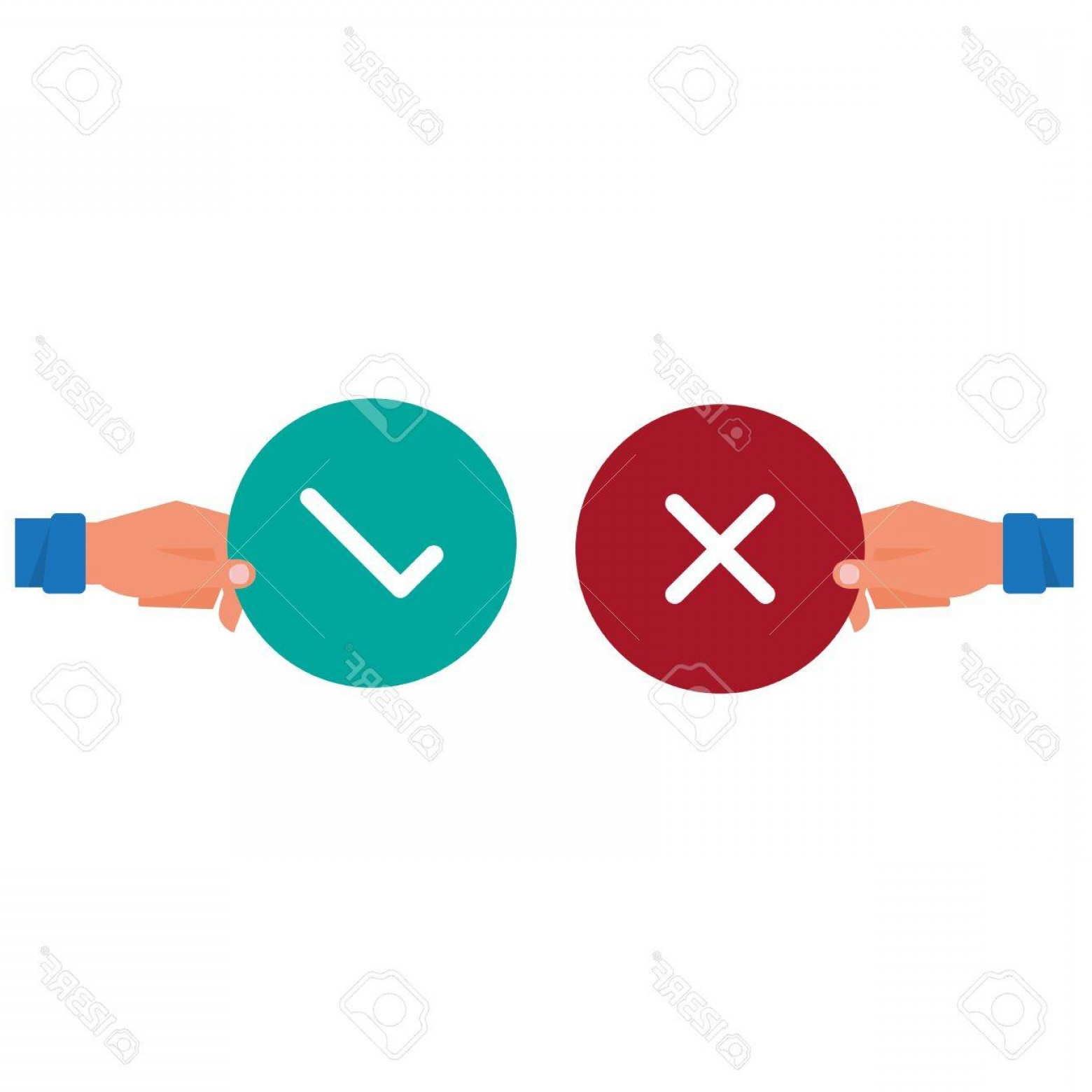 False Vector Style: Photostock Vector Hand Holding True And False Sign Positive And Negative Feedback Concept Yes Or No Icons Flat Design