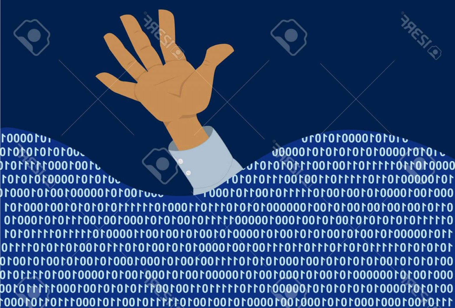 Man Drowning Vector: Photostock Vector Hand Of A Man Drowning In A Sea Of Computer Code Eps Vector Illustration