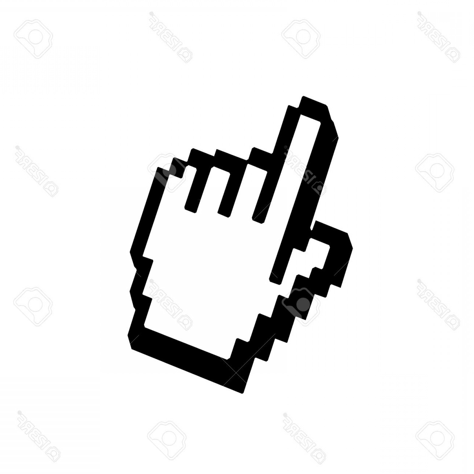 Computer Pointer Vector: Photostock Vector Hand Pointer Sign Cursor Mouse Web Icon Pixelated Click Button Black Element Isolated On White Backg