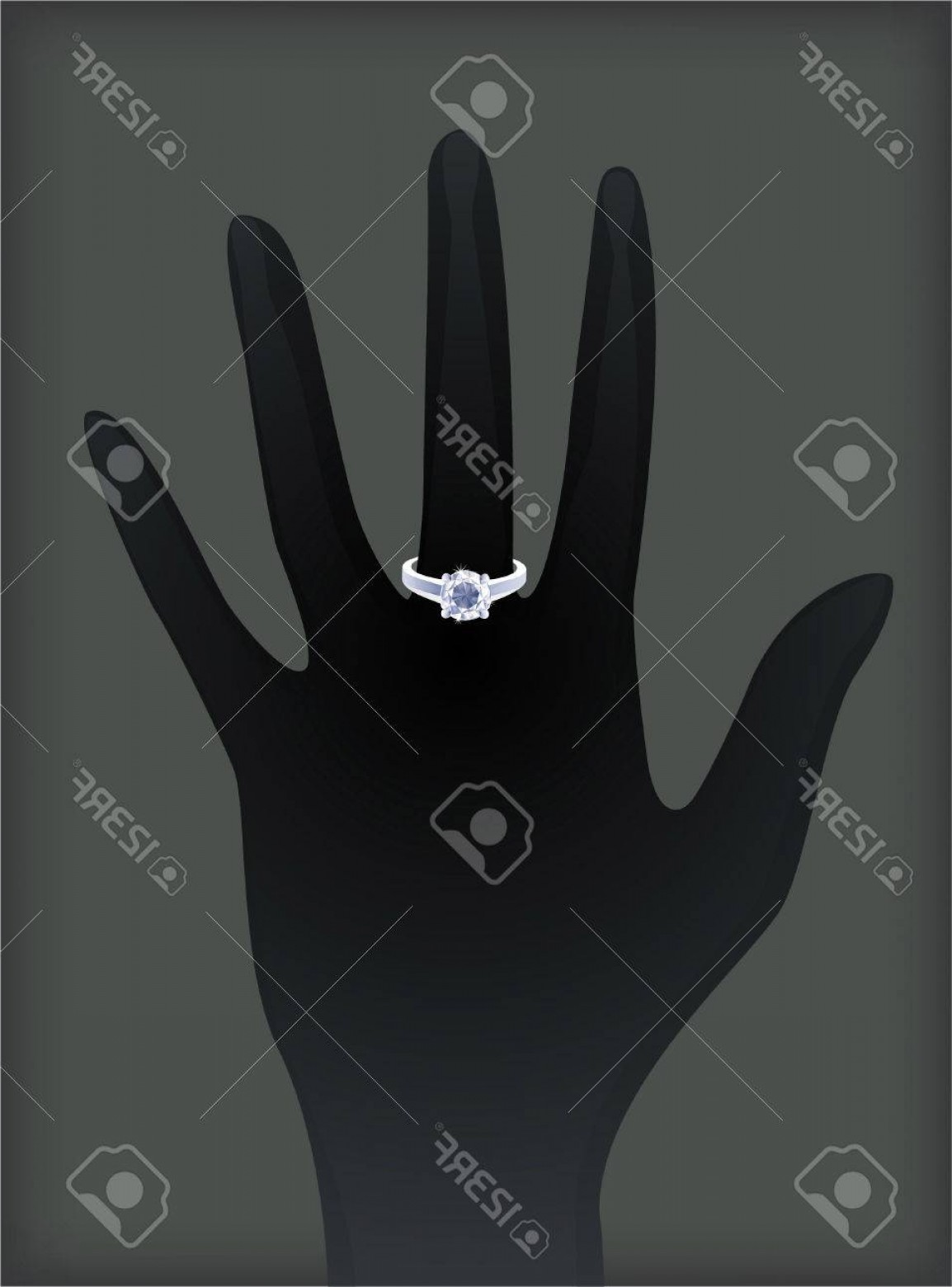 Hand With Ring Silhouette Vector: Photostock Vector Hand Silhouette With Diamond Ring