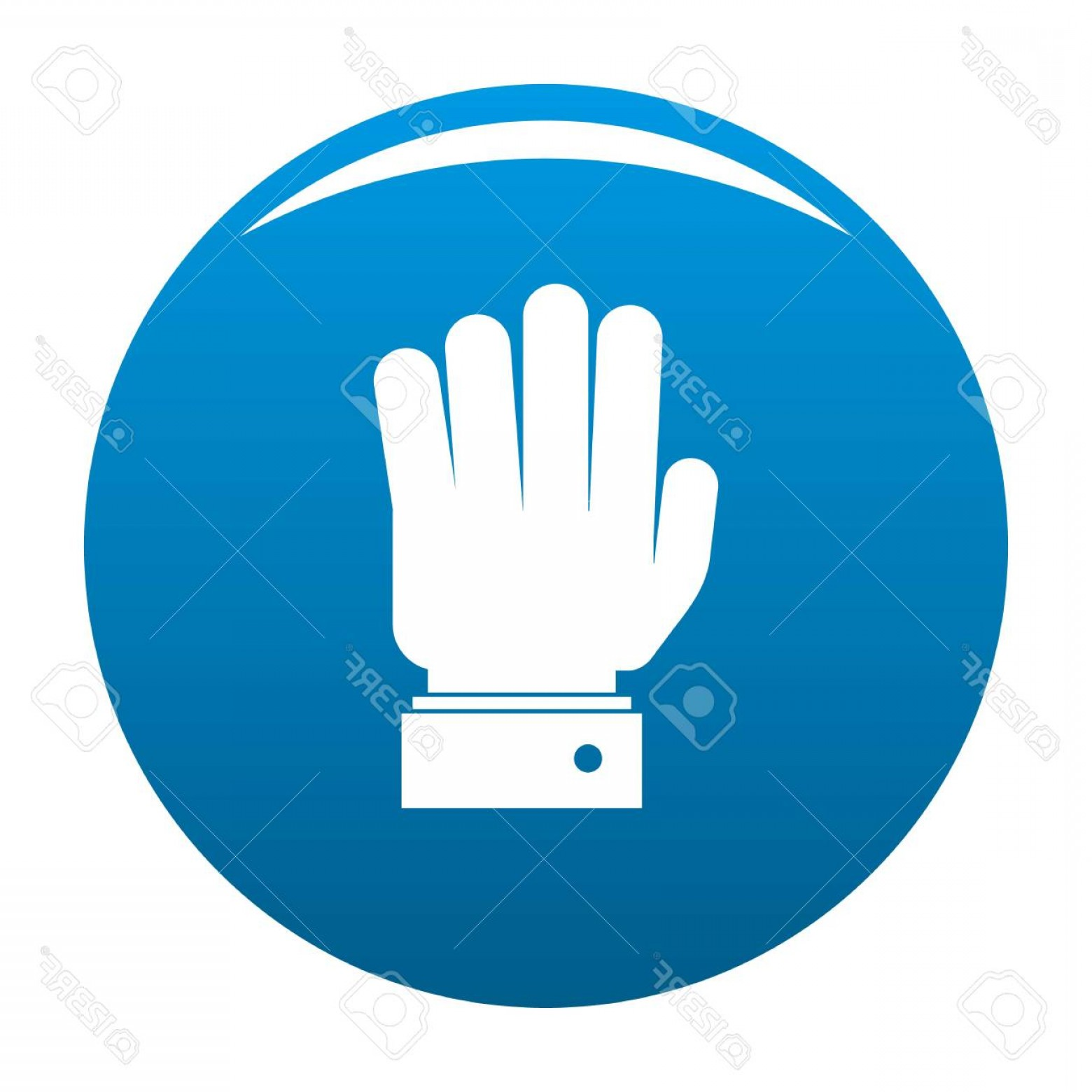 Hand Stop Vector Teal: Photostock Vector Hand Stop Icon Vector Blue Circle Isolated On White Background