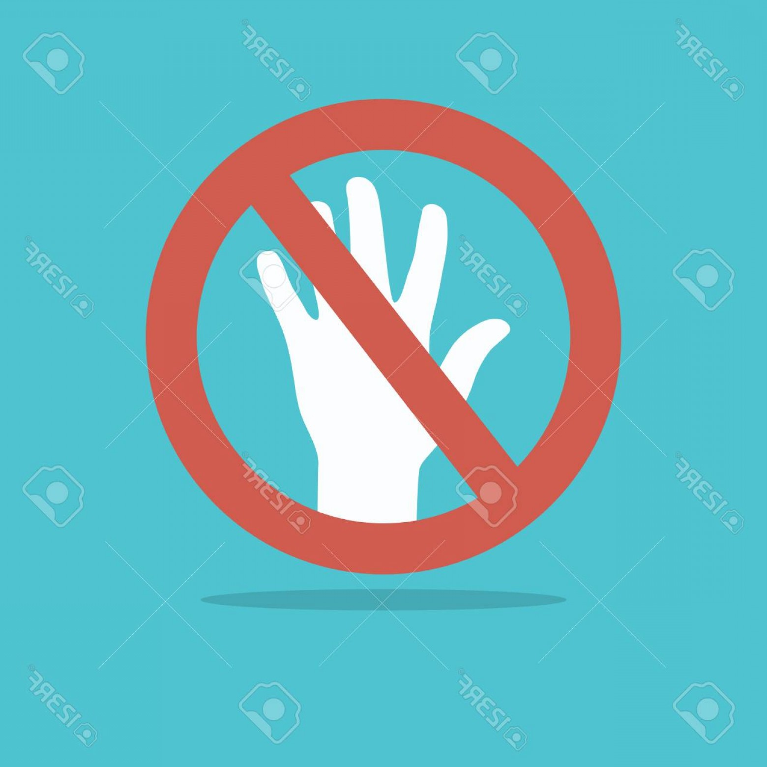 Hand Stop Vector Teal: Photostock Vector Hand Stop Sign For Web