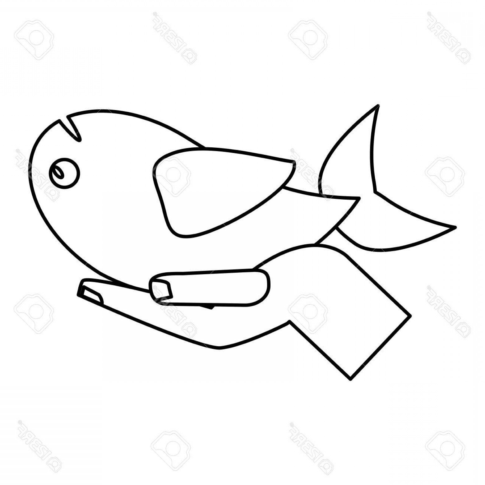 Christ Fish Vector: Photostock Vector Hand With Fish Miracle Jesus Christ Religious Outline Vector Illustration
