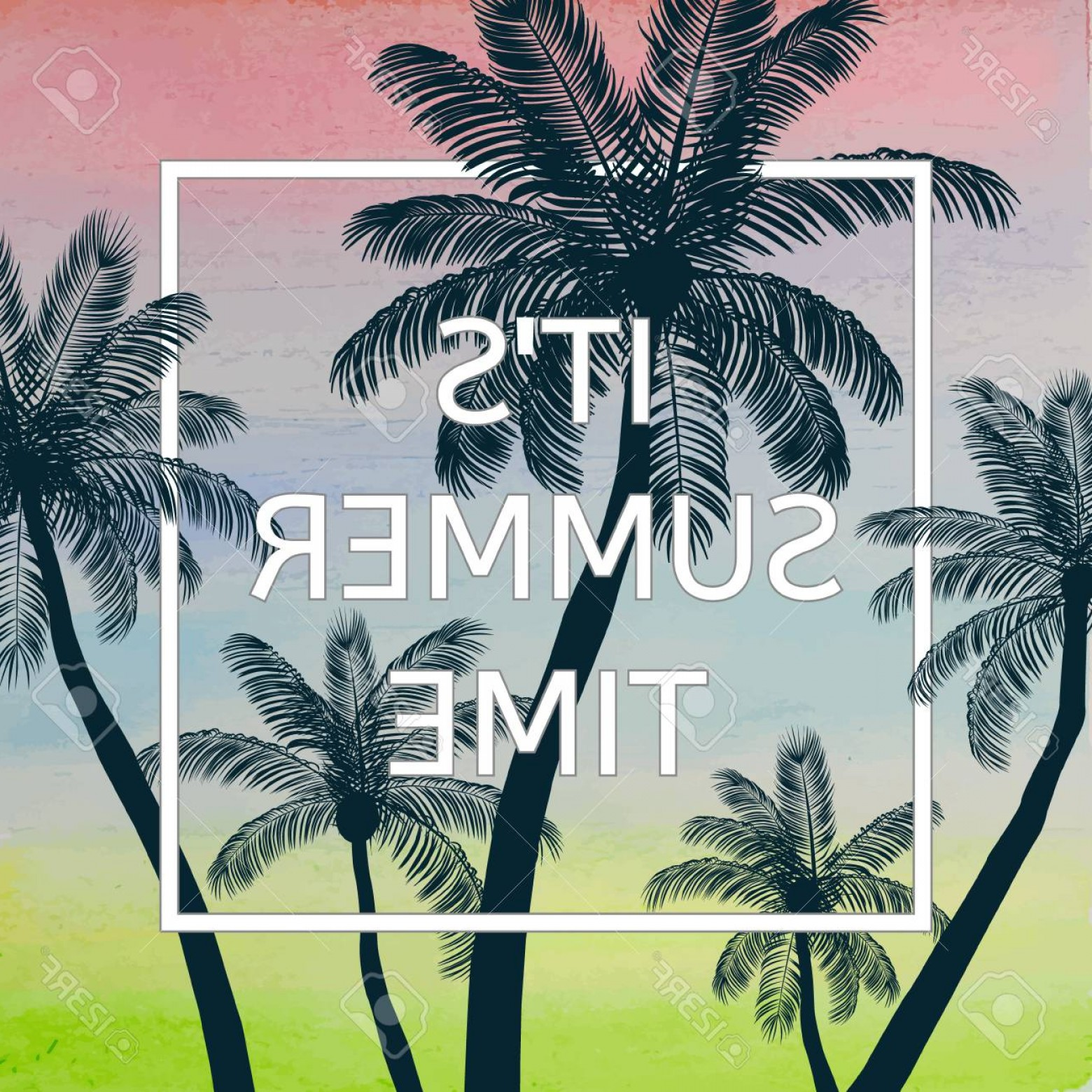 Watercolor Palm Tree Vector: Photostock Vector Handmade Poster On Watercolor Background With Palm Trees Vector Illustration
