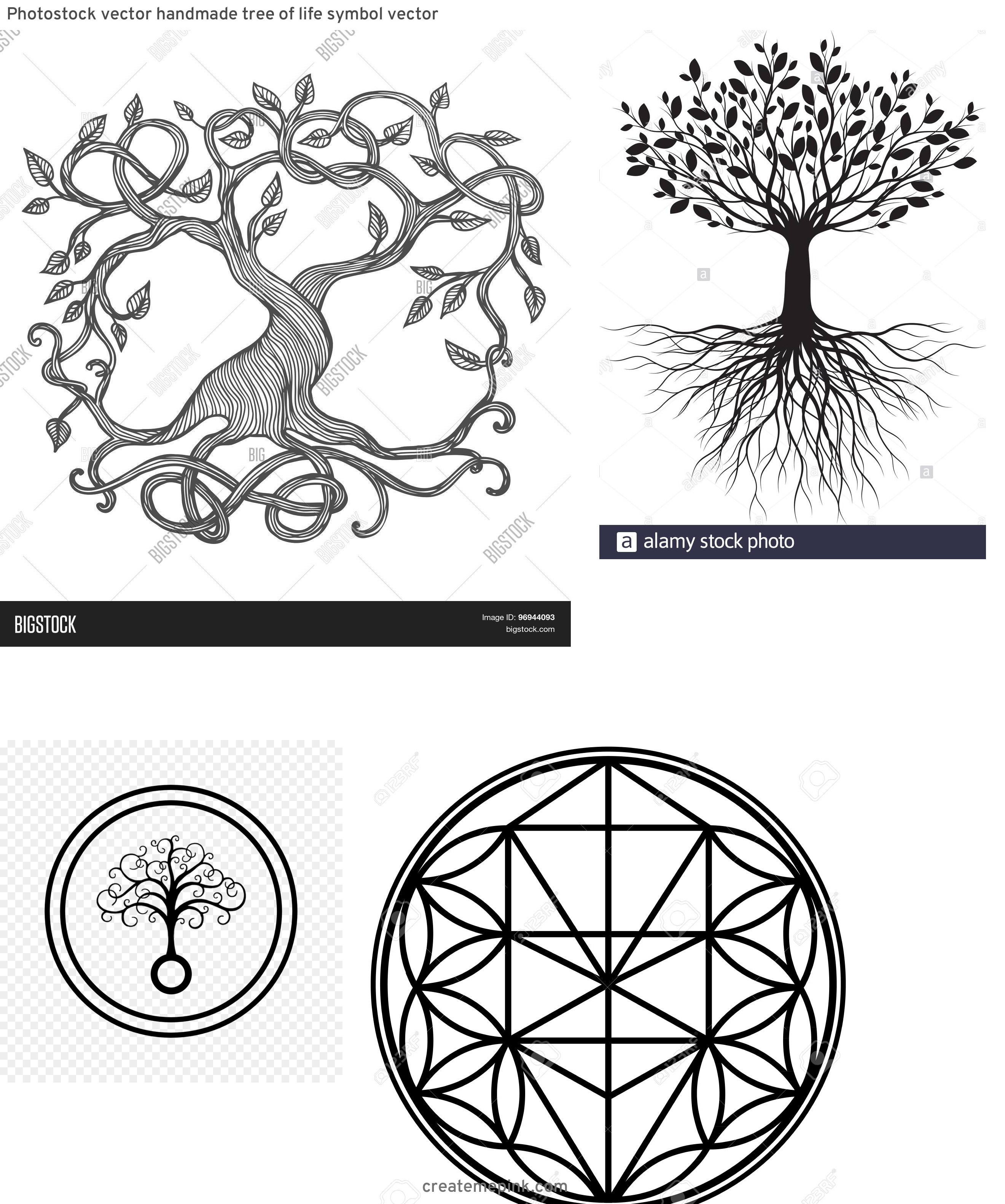 Vector Images Black Tree Of Life: Photostock Vector Handmade Tree Of Life Symbol Vector