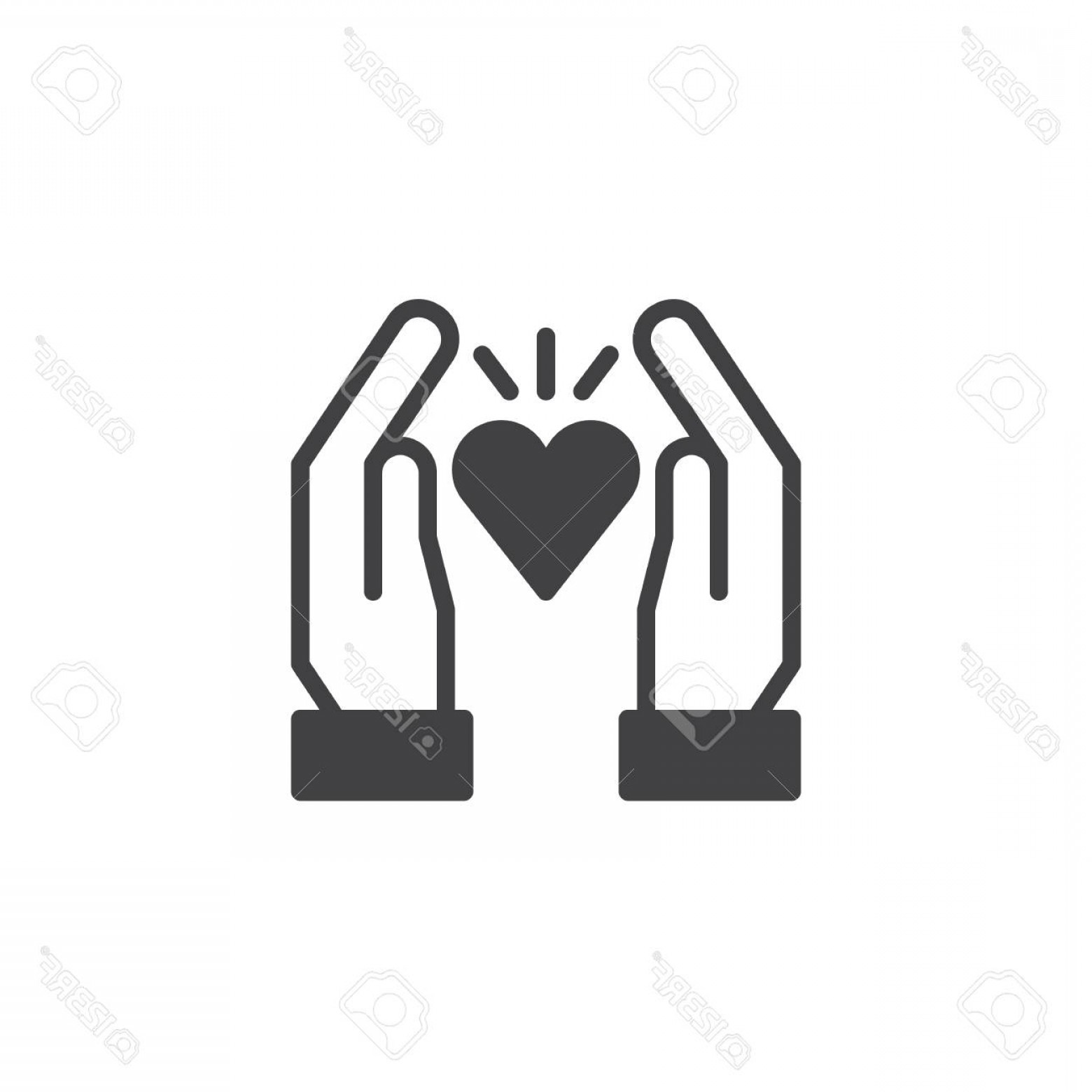 Solid Heart Vector Drawing: Photostock Vector Hands Hold Heart Vector Icon Love Filled Flat Sign For Mobile Concept And Web Design Heart In Hands