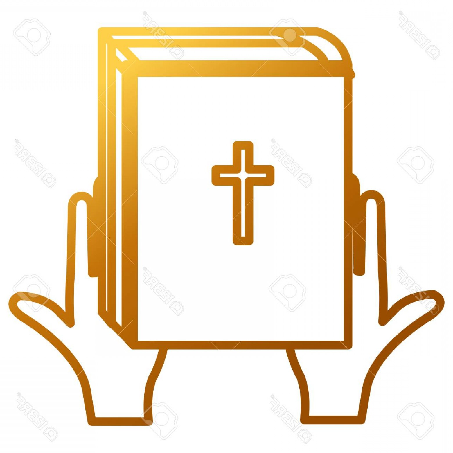 Holy Bible Vector: Photostock Vector Hands With Holy Bible Vector Illustration Design