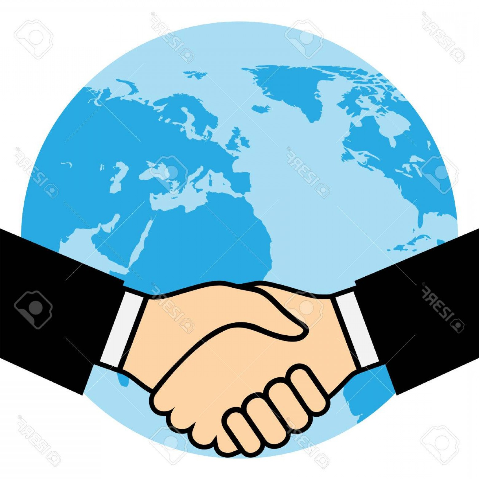 Handshake Clip Art Vector: Photostock Vector Handshake Of Business Partners Against The Background Of The Earth