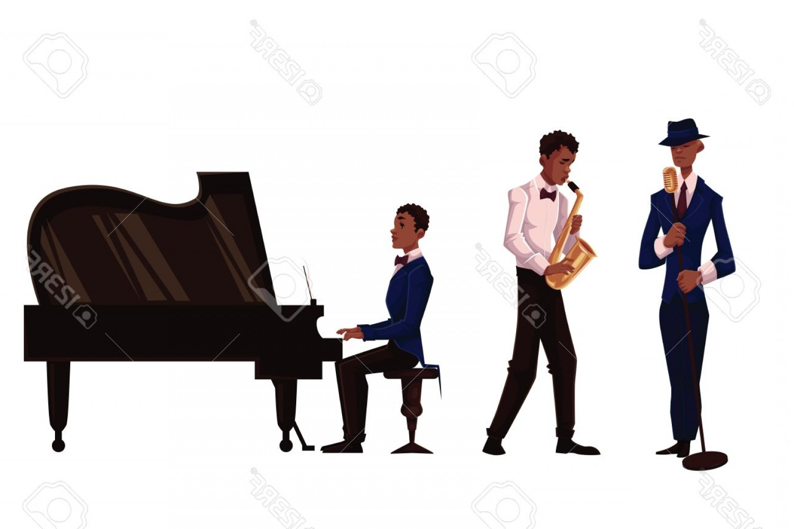 Musician Person Vector: Photostock Vector Handsome African Male Singer Saxophone Player And Pianist Cartoon Vector Illustration Isolated On Wh