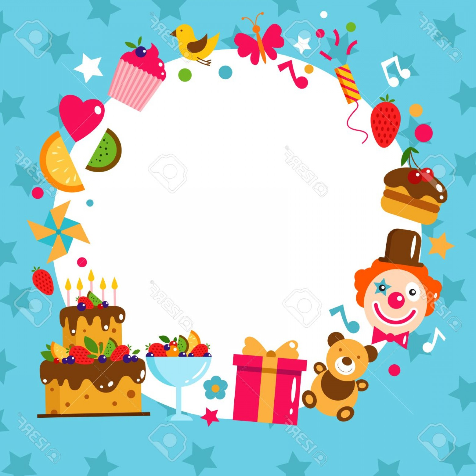 Birthday Card Vector Frame Designs: Photostock Vector Happy Birthday Card Flat Vector Illustration Kids Party And Celebration Design Elements Cake Gift Be