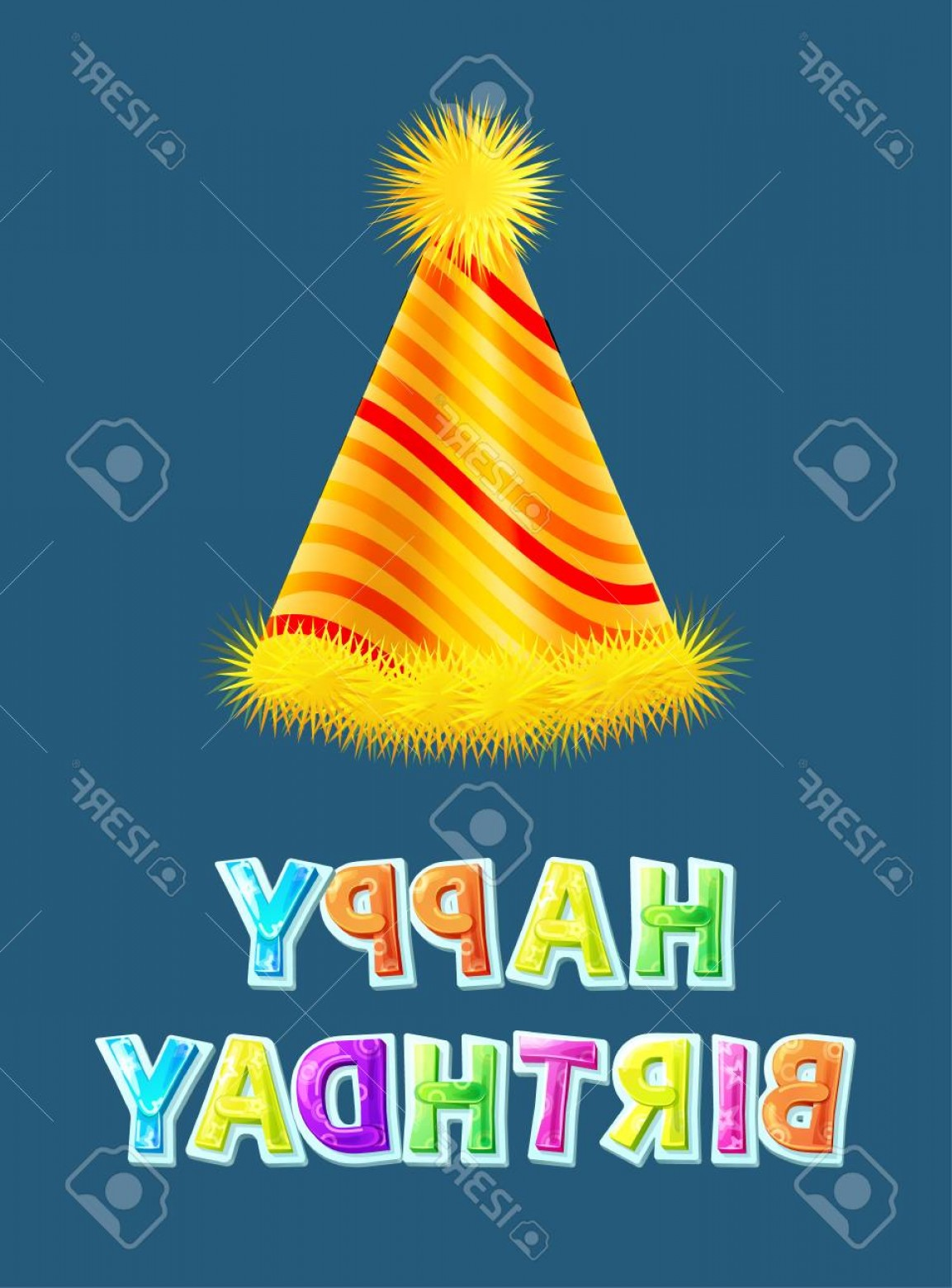 Teal Birthday Hat Vector: Photostock Vector Happy Birthday Greeting Wish Card With Stripped Party Hat Vector Holiday Frippery Cap Traditional Sp