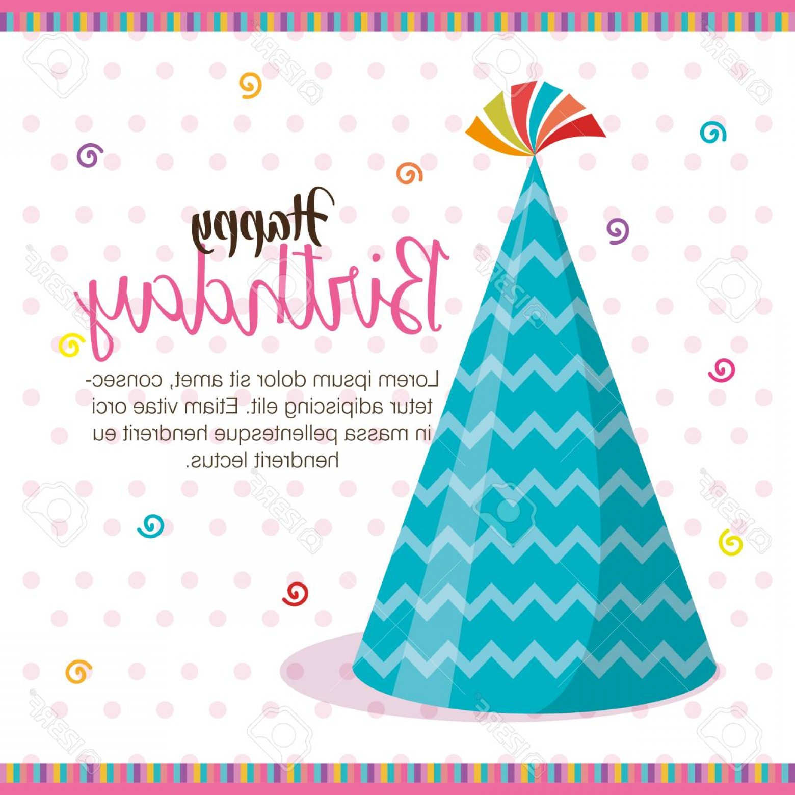 Teal Birthday Hat Vector: Photostock Vector Happy Birthday Hat Celebration Card Vector Illustration Design