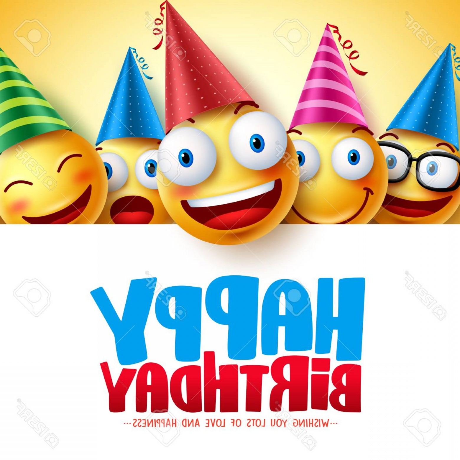 Happy Birthday Vector Art Backdrop: Photostock Vector Happy Birthday Smileys Vector Background Design With Yellow Funny And Happy Emoticons And Birthday G