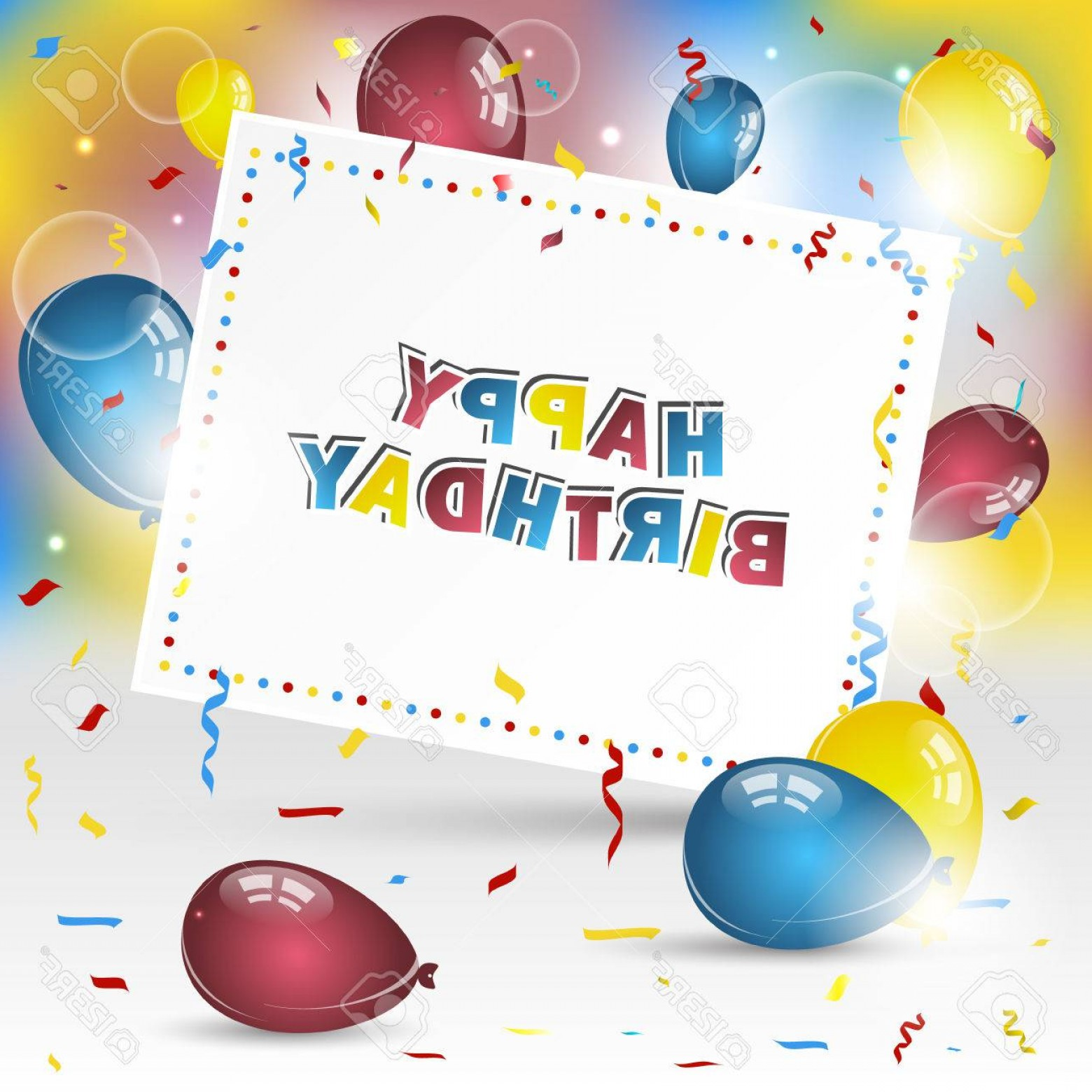 Happy Birthday Vector Art Backdrop: Photostock Vector Happy Birthday Vector Background With Colorful Confetti And Balloons Design For Your Greeting Card