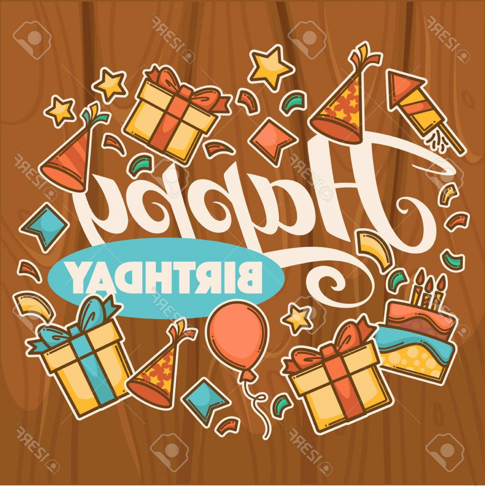 Happy Birthday Vector Art Backdrop: Photostock Vector Happy Birthday Vector Greeting Card Template With Happy Lettering On Wood Background