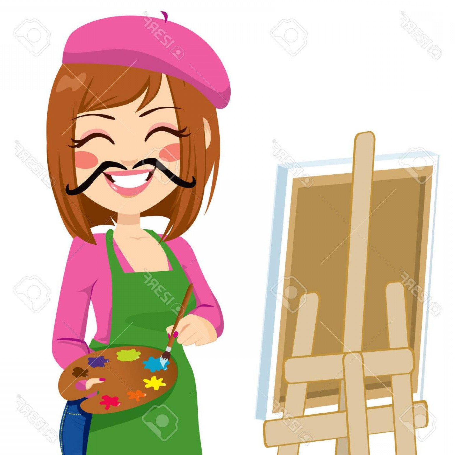 Woman Vector Toon Painter: Photostock Vector Happy Brunette Artist Woman With Funny Mustache Painting With Colorful Palette