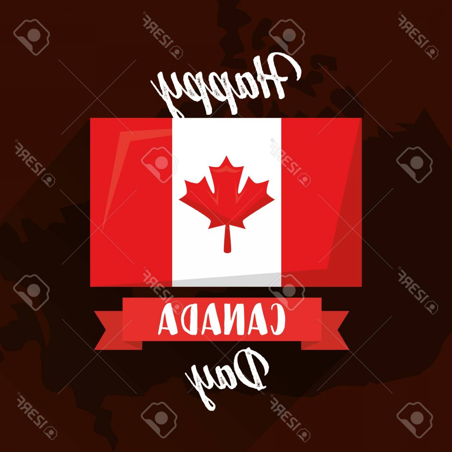 Geographic Leaf Vector: Photostock Vector Happy Canada Day Flag On Map Geographic Vector Illustration