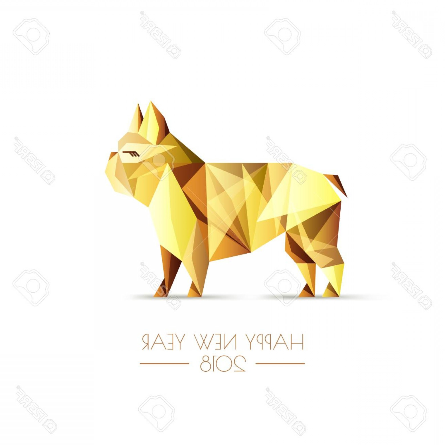 Corgi Vector Multicolor: Photostock Vector Happy Chinese New Year Vector Greeting Card Poster Banner With Golden Luxury Low Poly Dog Symbo