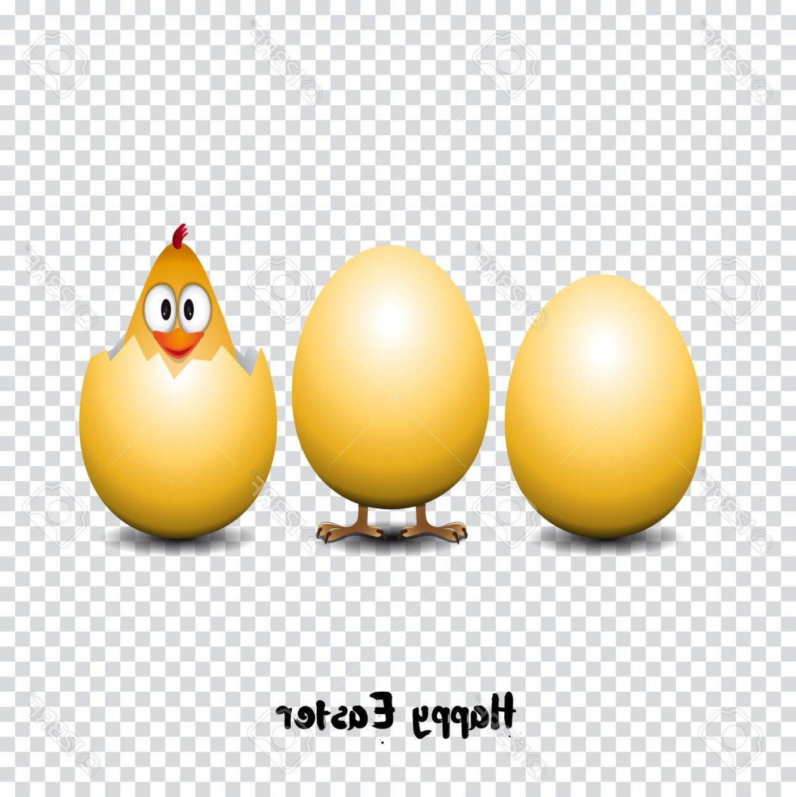 Easter Vector No Background: Photostock Vector Happy Easter Card Funny Chicken Eggs Transparent Background Vector Illustration