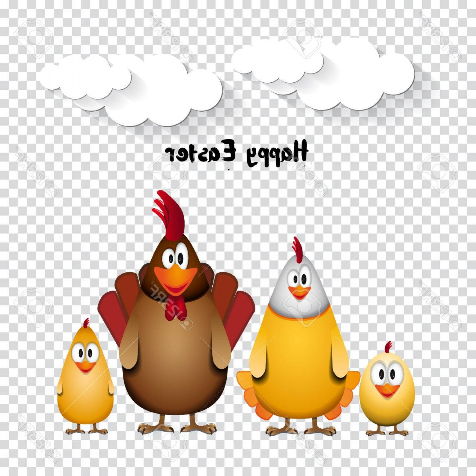 Easter Vector Art No Background: Photostock Vector Happy Easter Funny Chicken Family Vector Illustration On Transparent Background