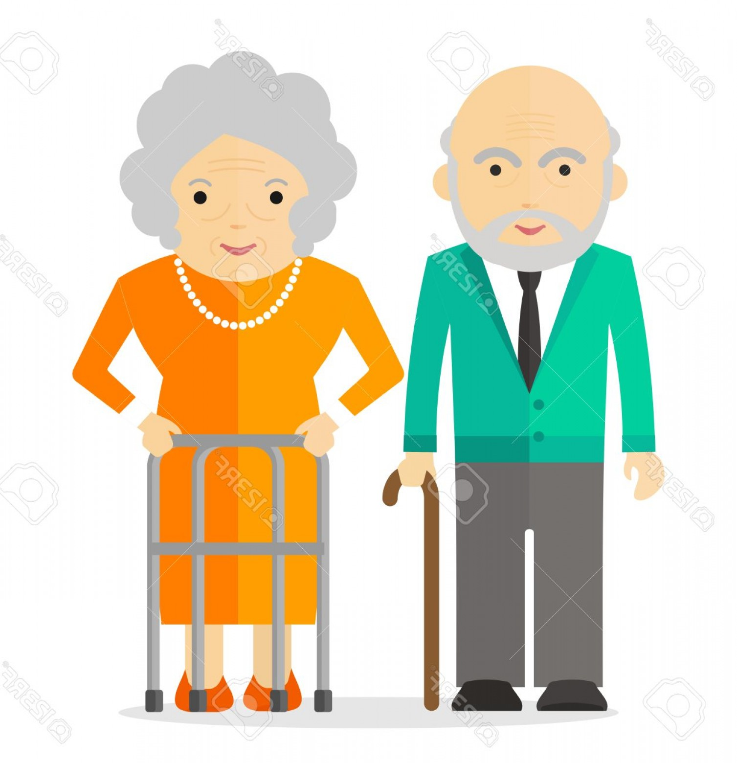 Happy Elderly Vector: Photostock Vector Happy Elderly Conceptual Image Of People Of Retirement Age Cartoon Flat Vector Illustration Objects