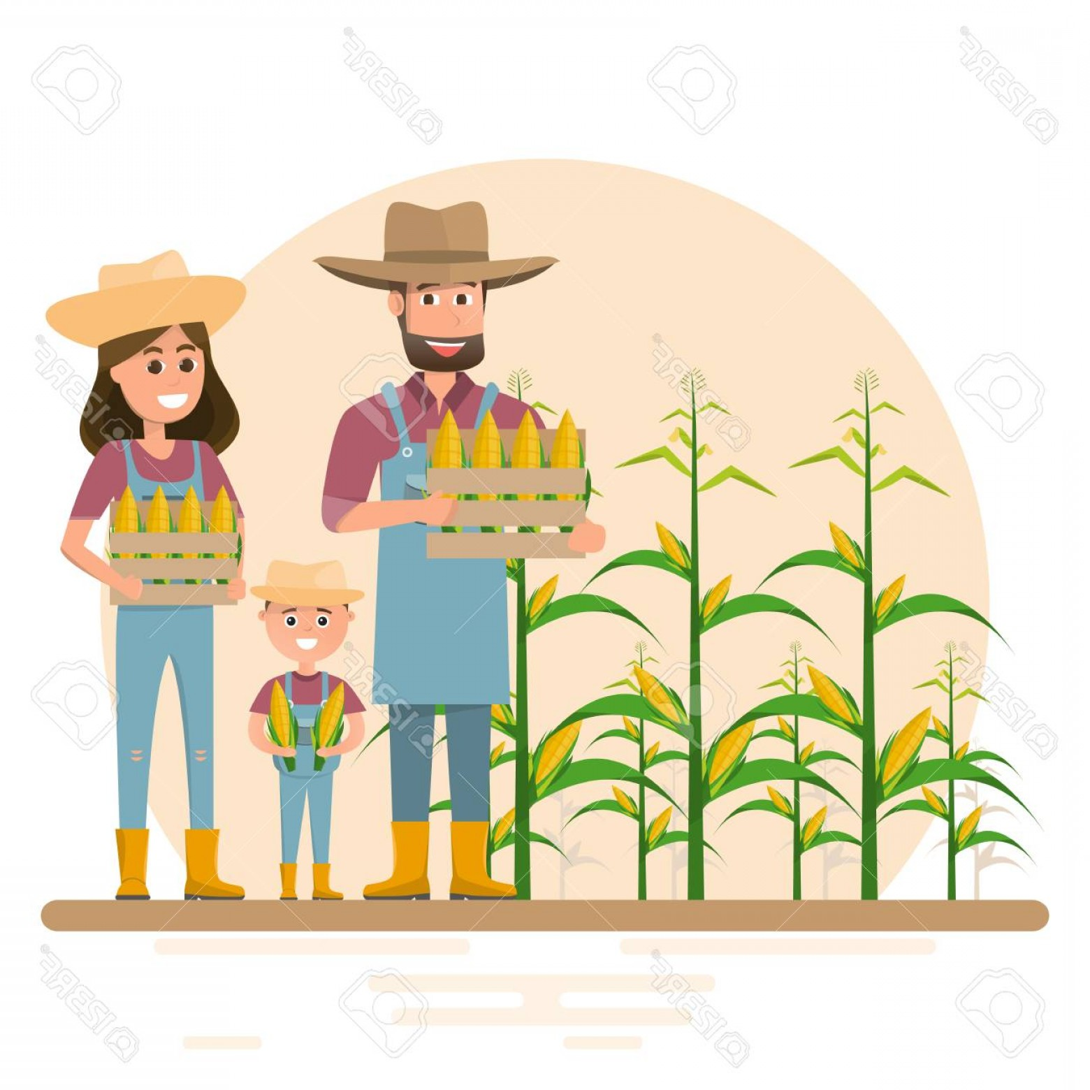 Redneck Family Vector Graphic: Photostock Vector Happy Farmer Family Cartoon Character In Organic Rural Farm Vector Illustration