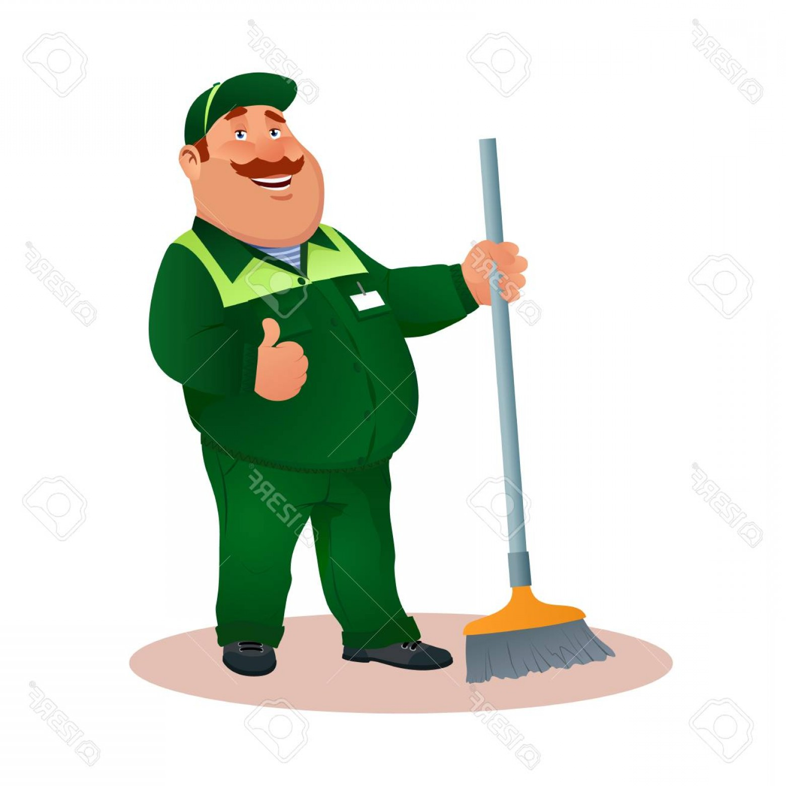 Cleaning Vector Janitorail: Photostock Vector Happy Flat Cleaner In Uniform From Janitorial Service Or Office Cleaning Funny Cartoon Janitor With