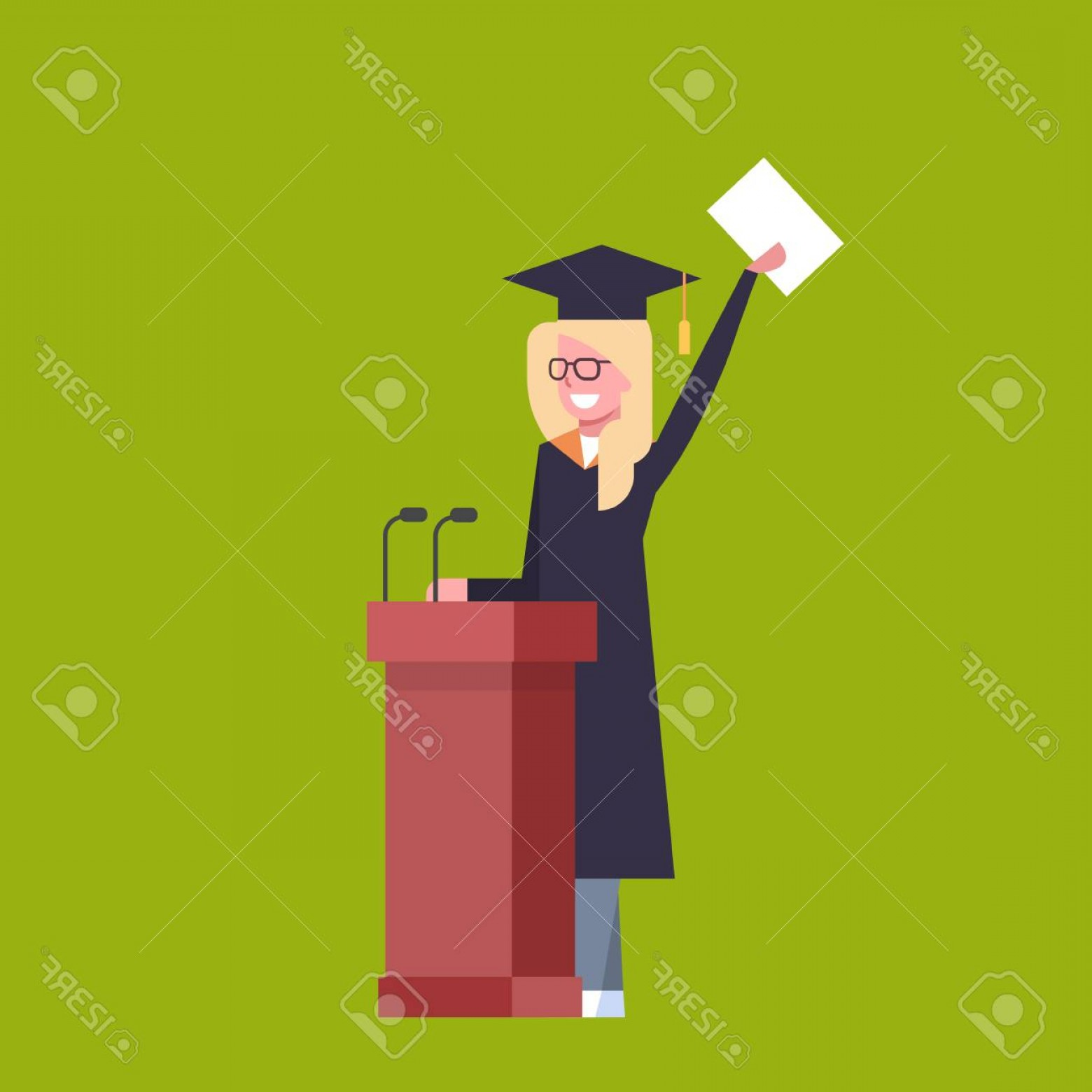 Standing Diploma Vector: Photostock Vector Happy Girl Student In Graduation Cap And Gown Standing At Tribune Hold Diploma On Green Background F