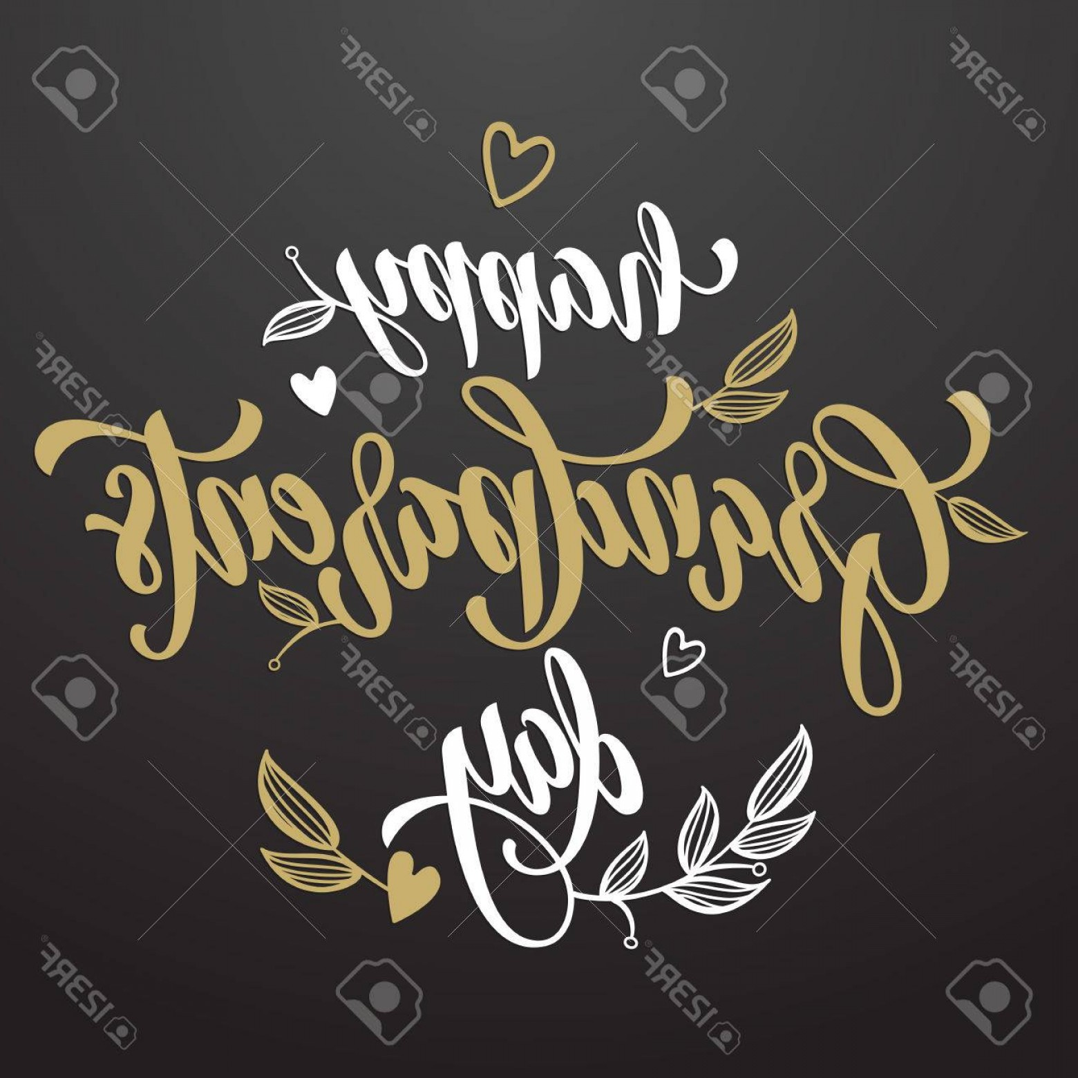 Floral Vector Calligraphy: Photostock Vector Happy Grandparents Day Artisitc Lettering For Grandfather Grandmother Greeting Card Hand Drawn Vecto