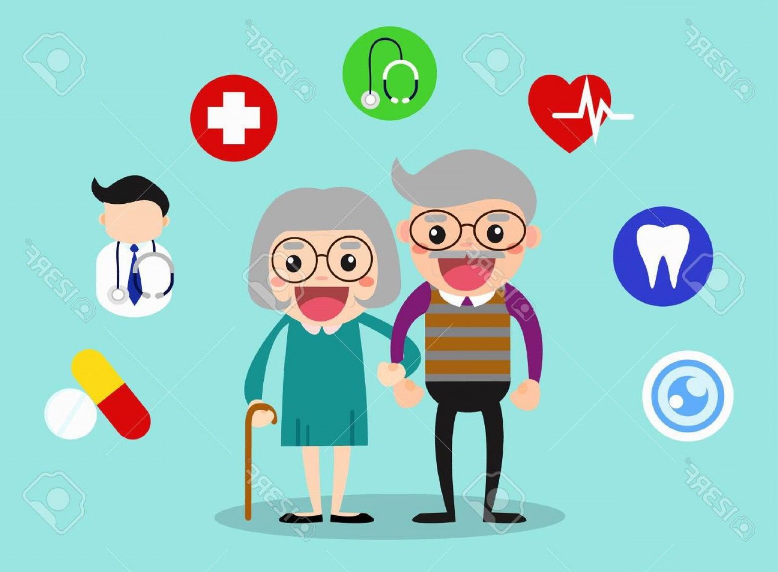 Happy Elderly Vector: Photostock Vector Happy Grandparents Healthcare With Health Icons Old Age Healthy Vector Illustration Concept