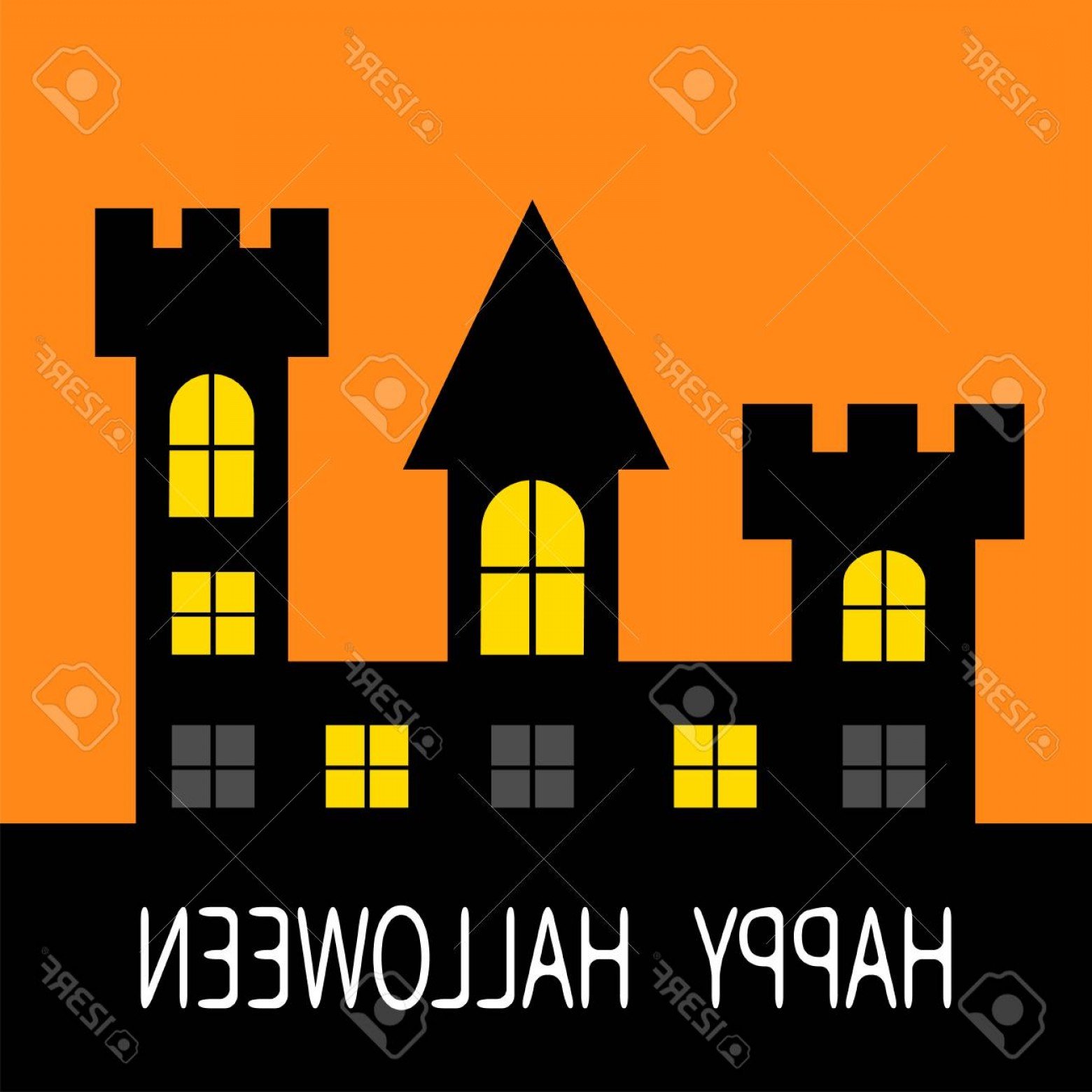 Halloween Haunted House Silhouette Vector: Photostock Vector Happy Halloween Haunted House Dark Black Tower Silhouette Switch On Yellow Light At The Pane Triangu