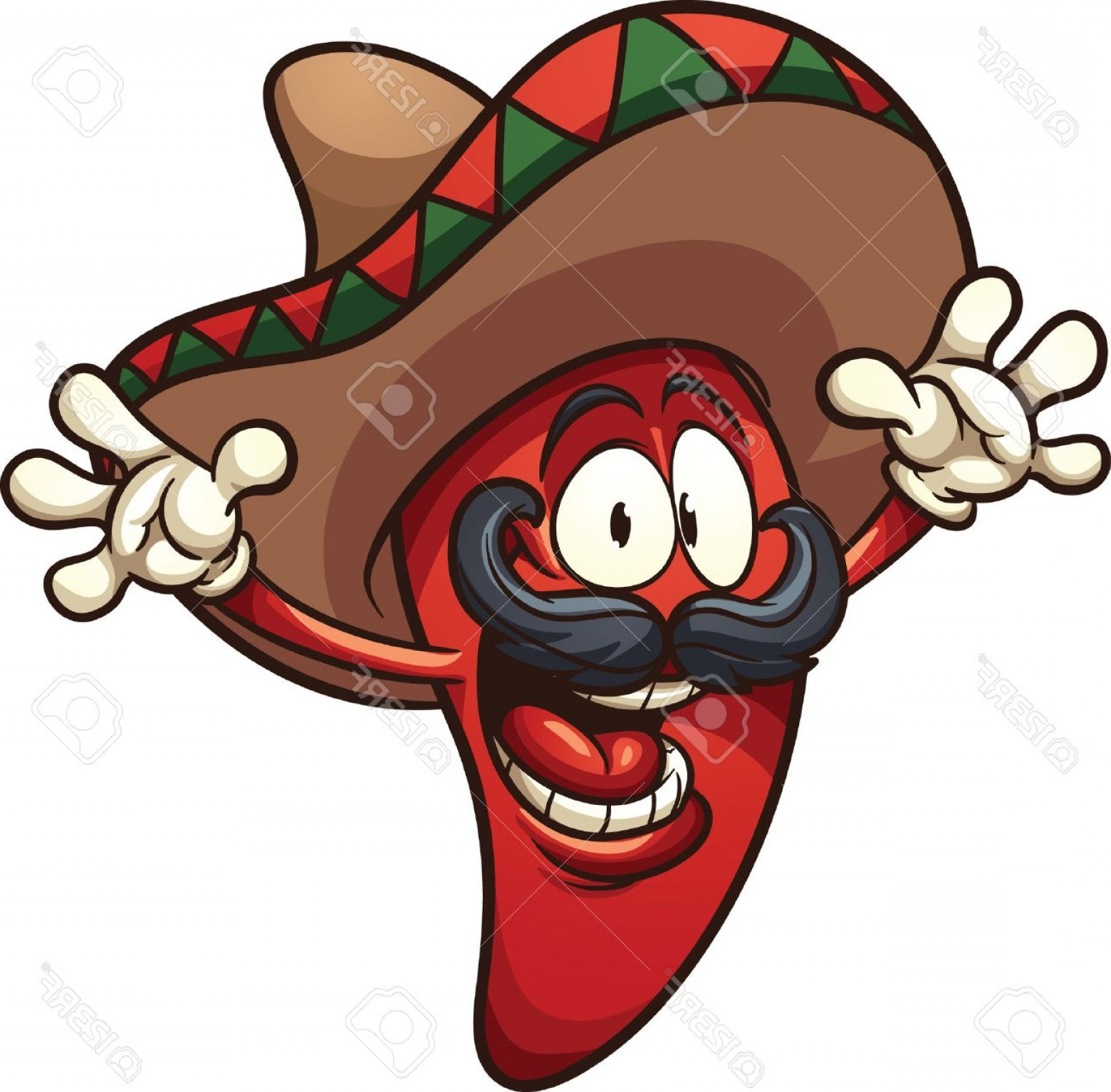 Vector Mexican Chili: Photostock Vector Happy Mexican Chili Pepper Vector Clip Art Illustration With Simple Gradients All In A Single Layer