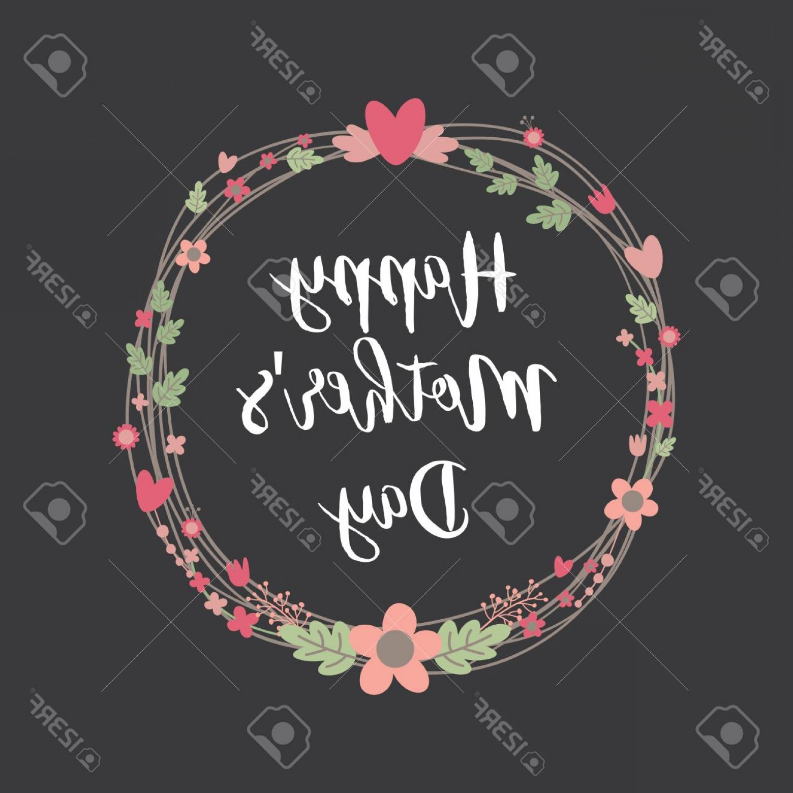 Floral Laurel Wreath Vector: Photostock Vector Happy Mothers Day With Flowers Greeting Card Laurel Wreath Floral Wreath Vector Illustration Floral